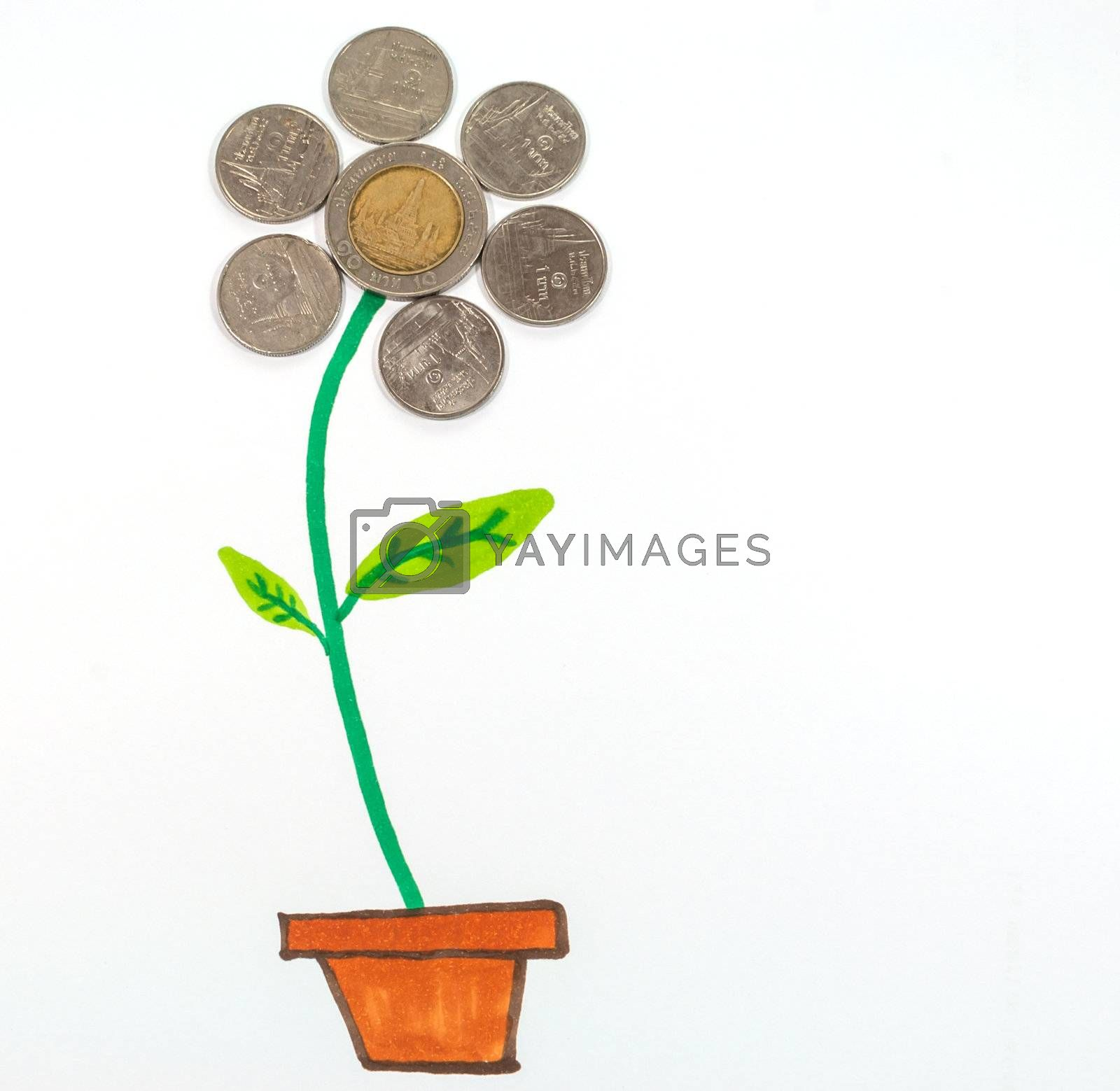 The flower is composed of Thai coin and hand made painting