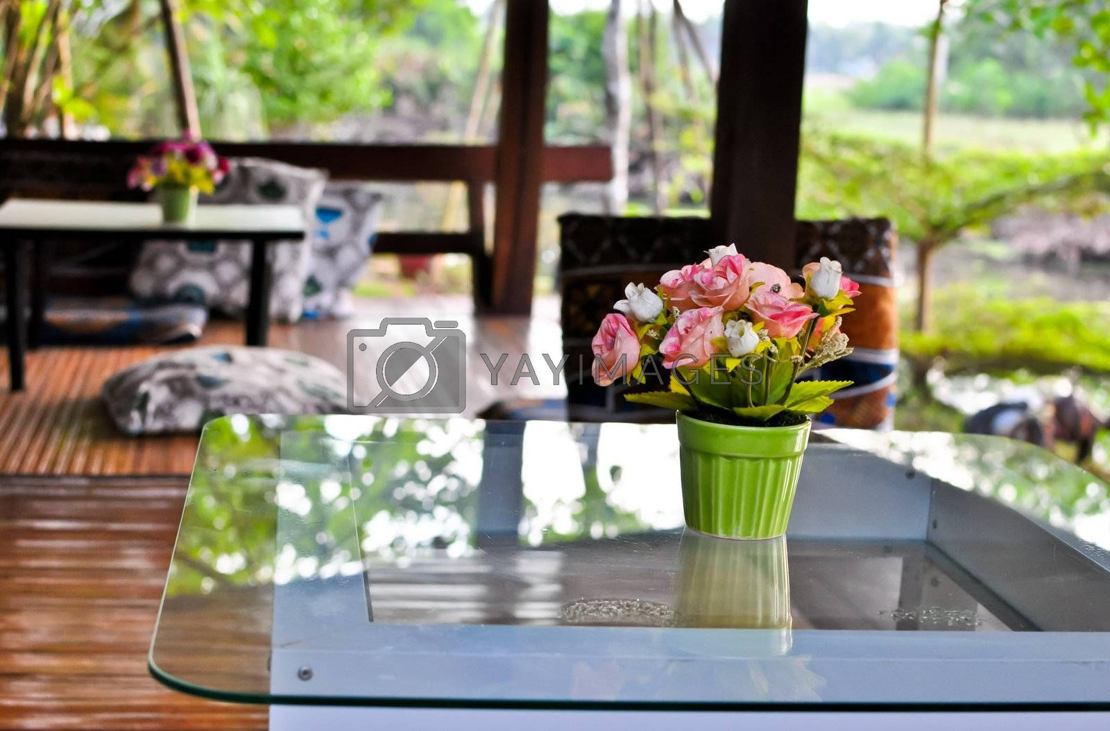 The lovely flower on the table