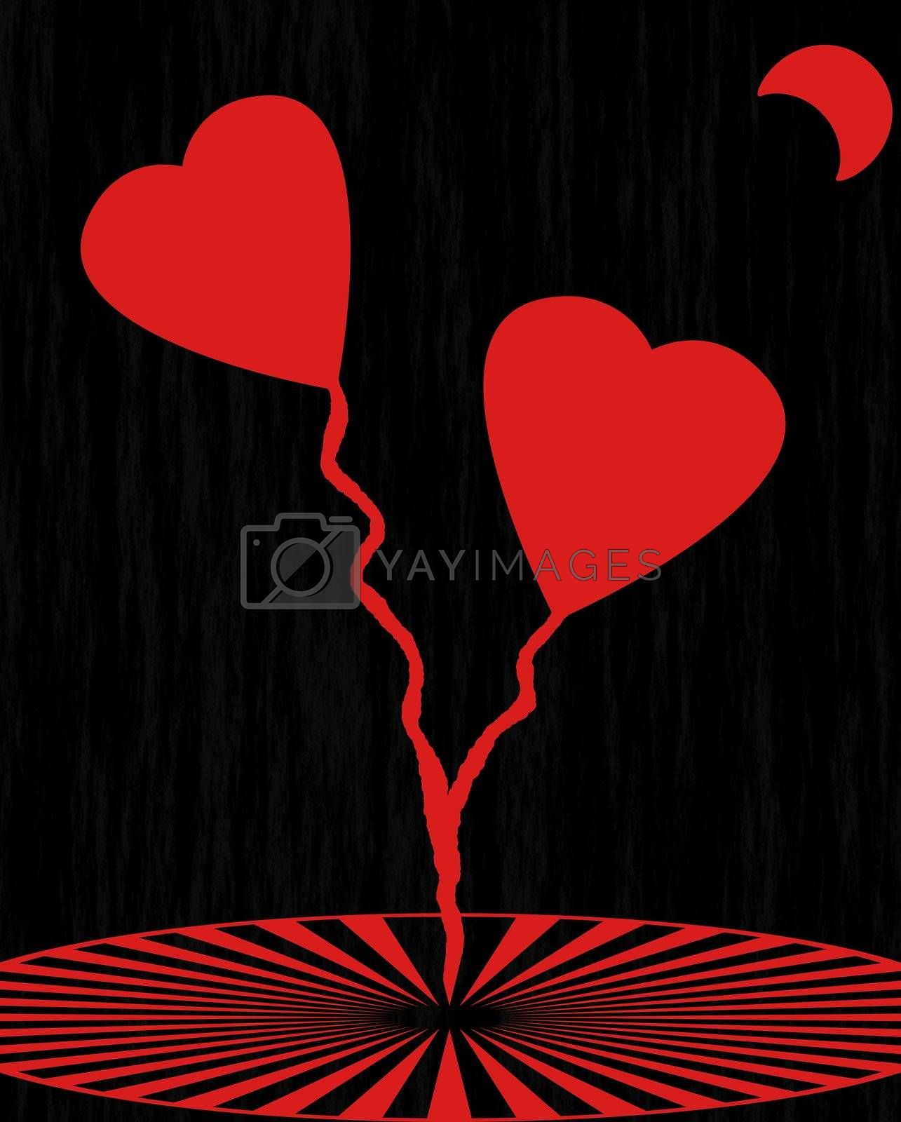 romance in the moonlight, hearts red flowers on black background