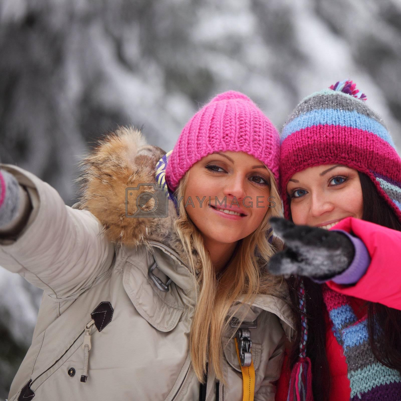 winter women close up portrait