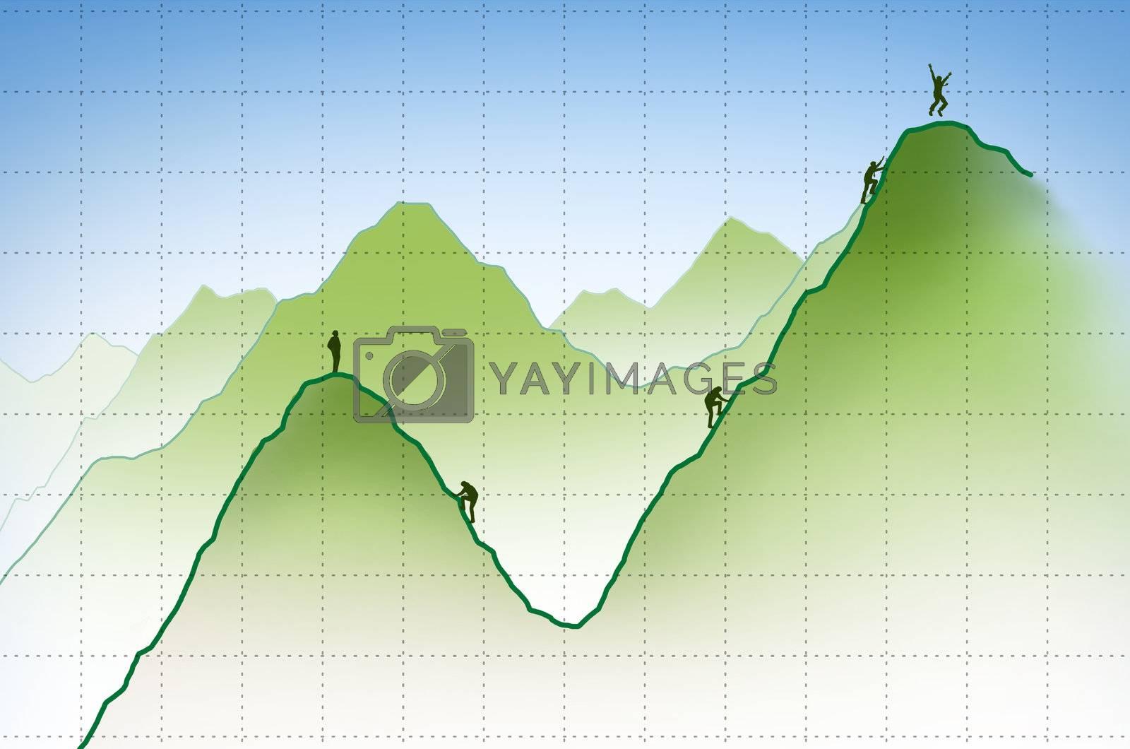 businessman climbing a financial graph