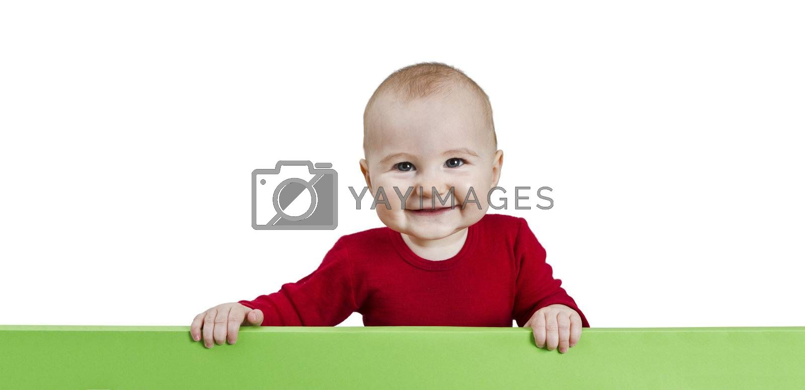 young child holding green sign. isolate on white background
