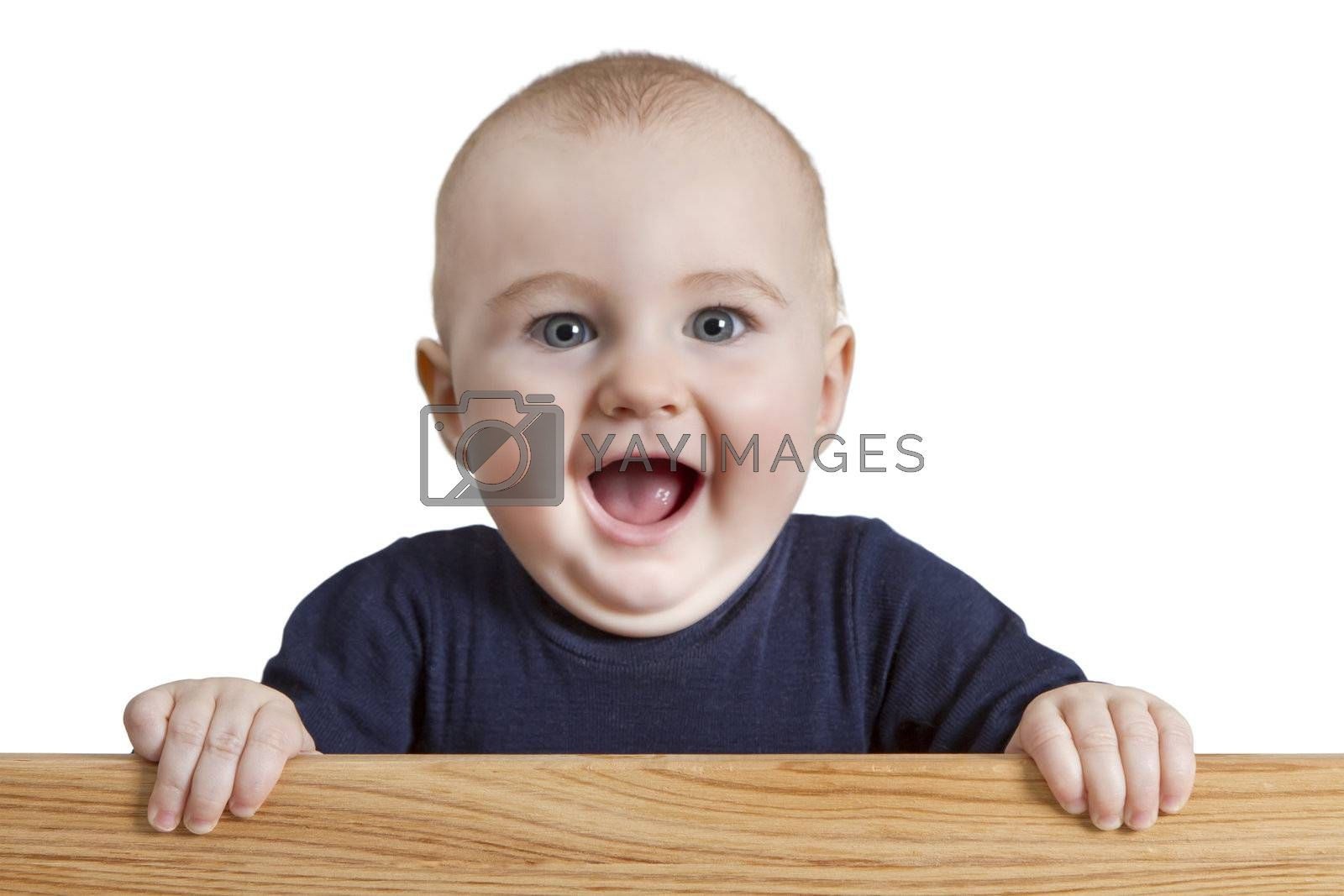 young child holding board. isolate on white background
