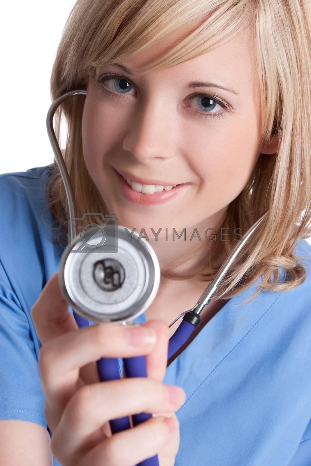 Smiling pretty nurse holding stethoscope