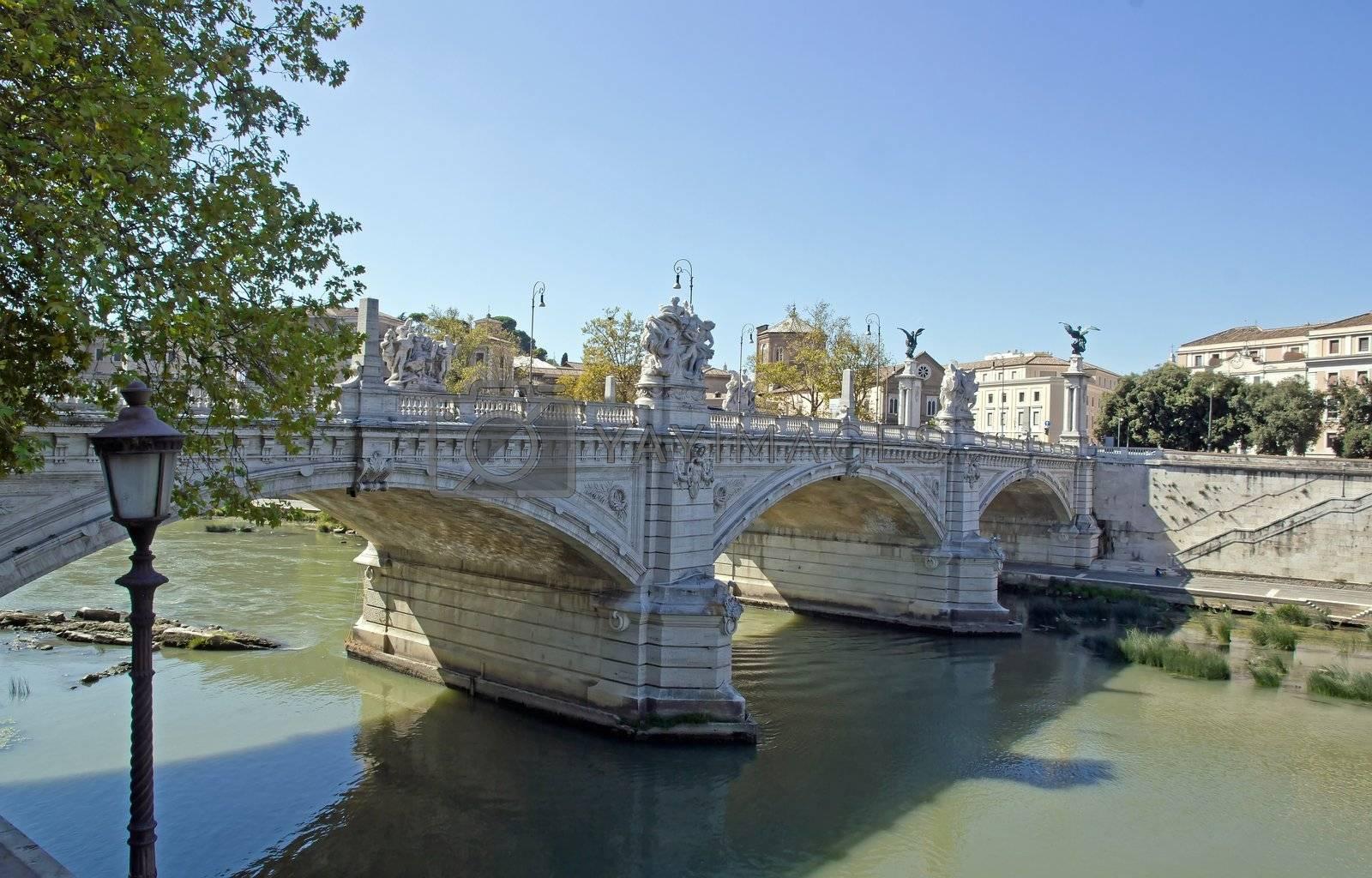 view of the bridge Victor Emmanuel II (Rome Italy)