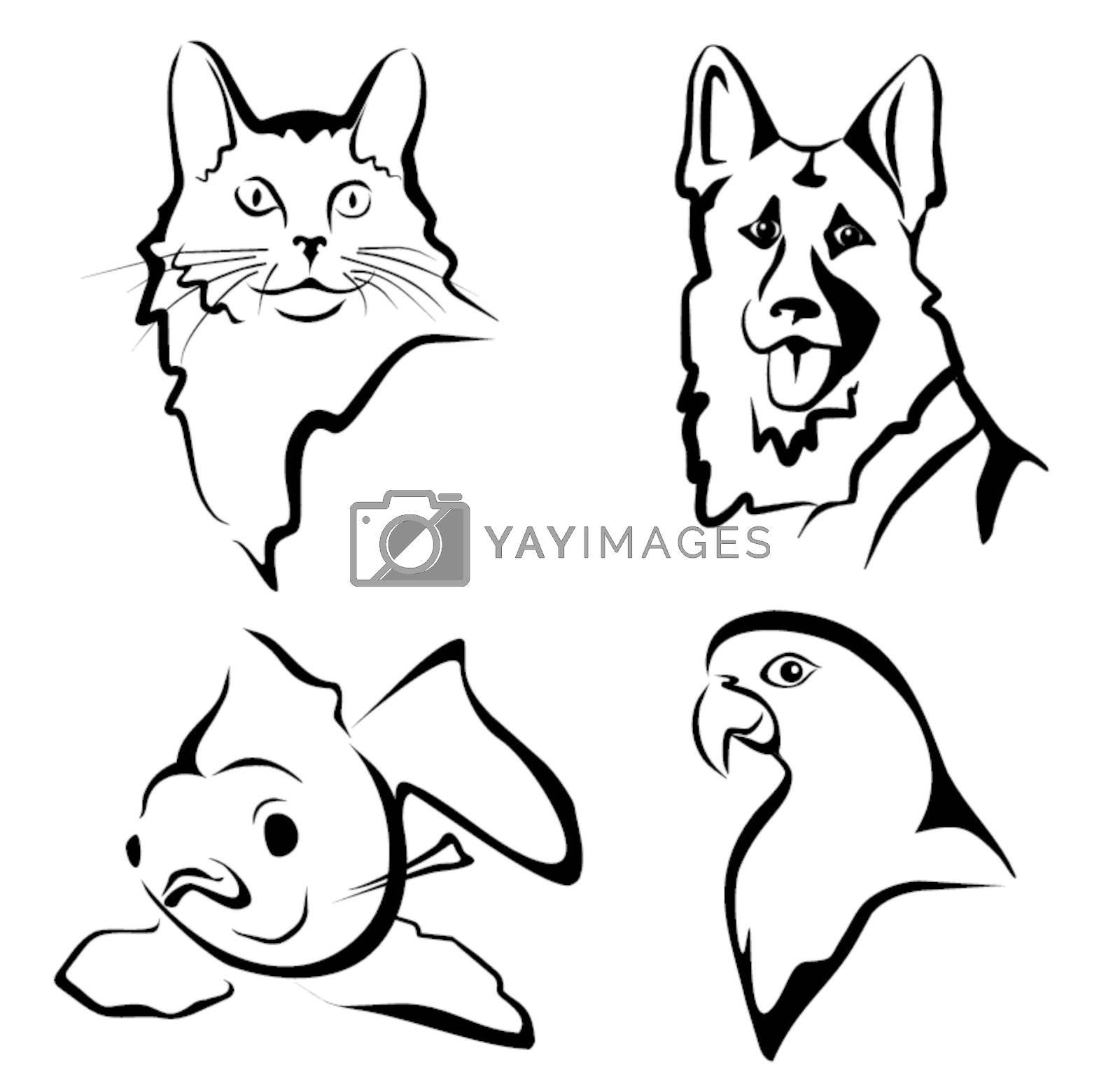 set of pets portraits by baldyrgan
