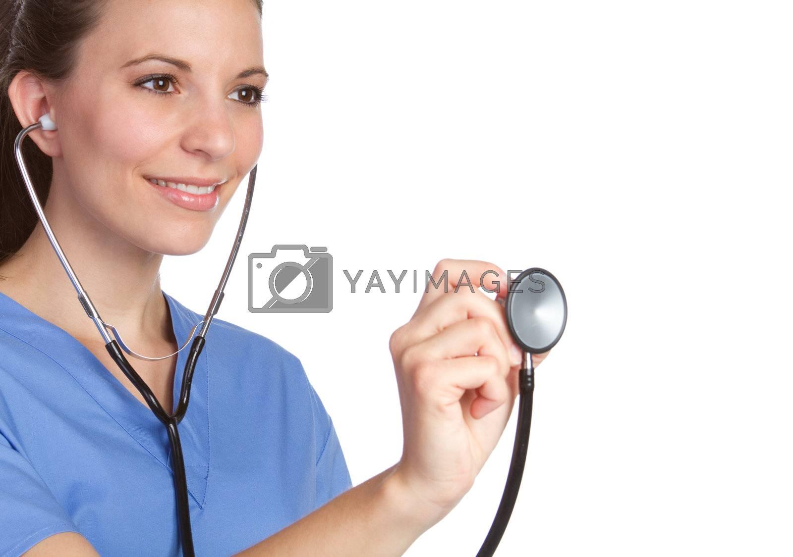 Beautiful smiling nurse holding stethoscope