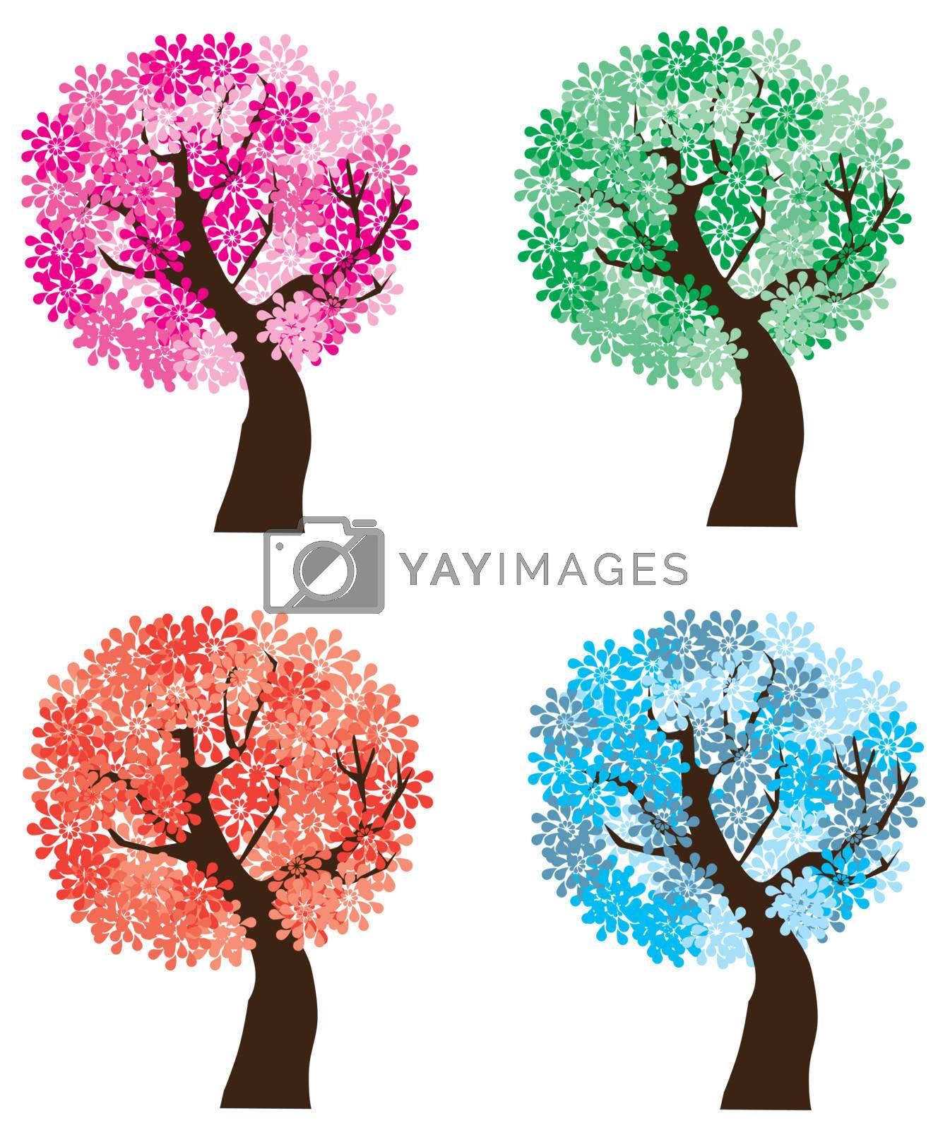 vector illustration of season trees