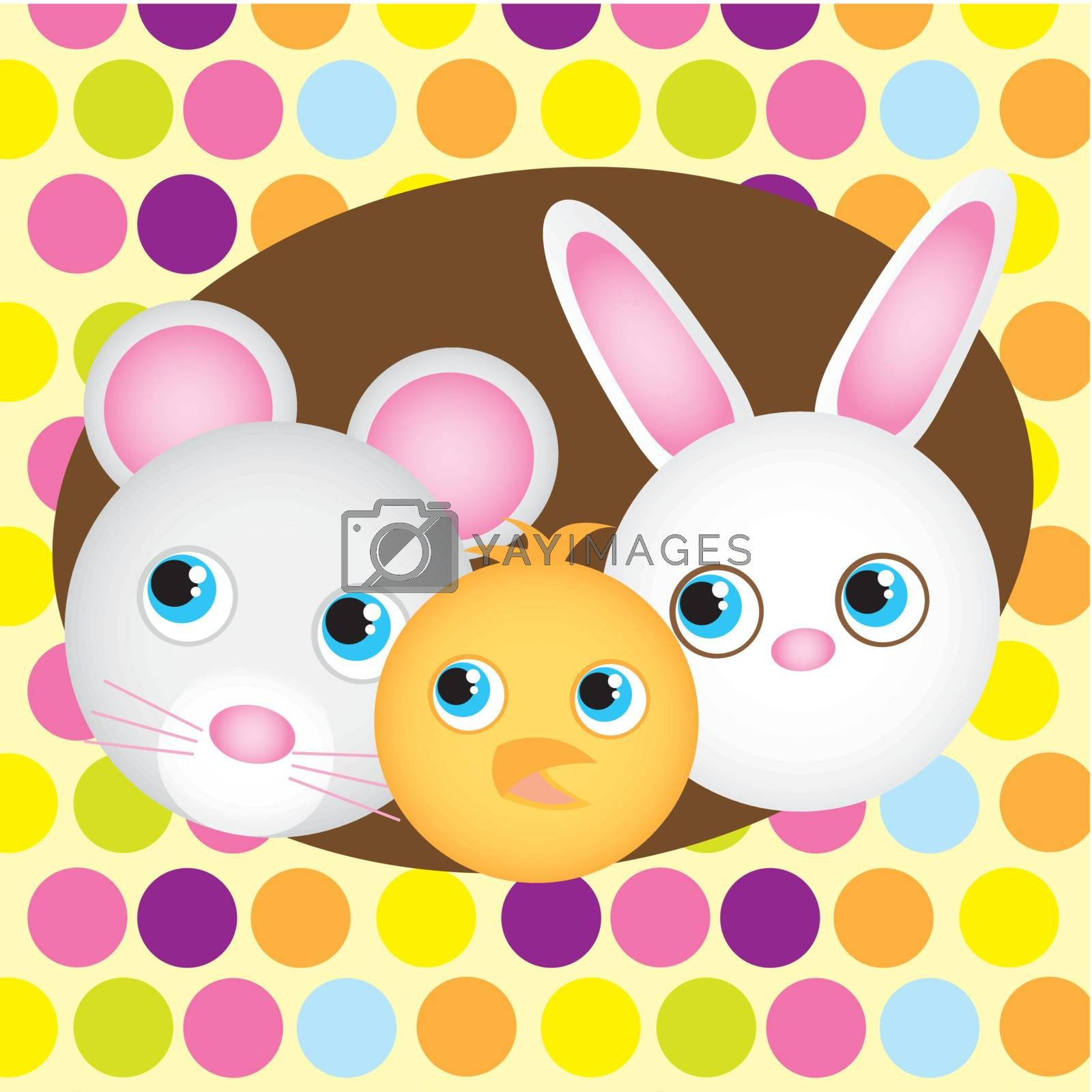 cute animals faces isolated over cute  background. vector