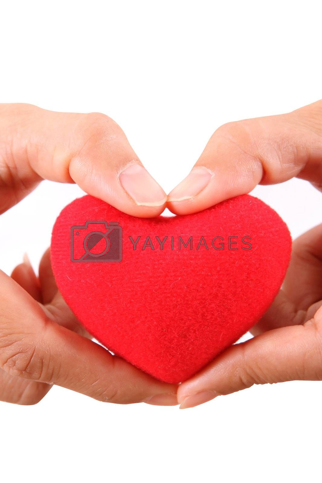 Female hands with red heart