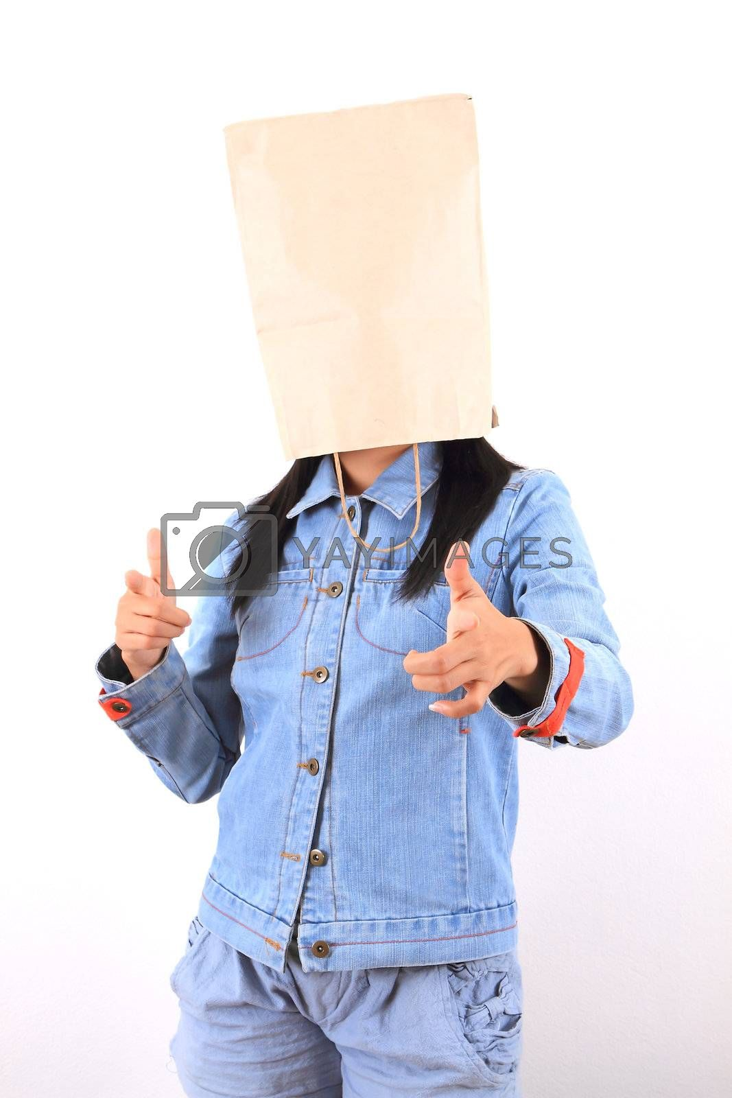 Woman with paper bag on head
