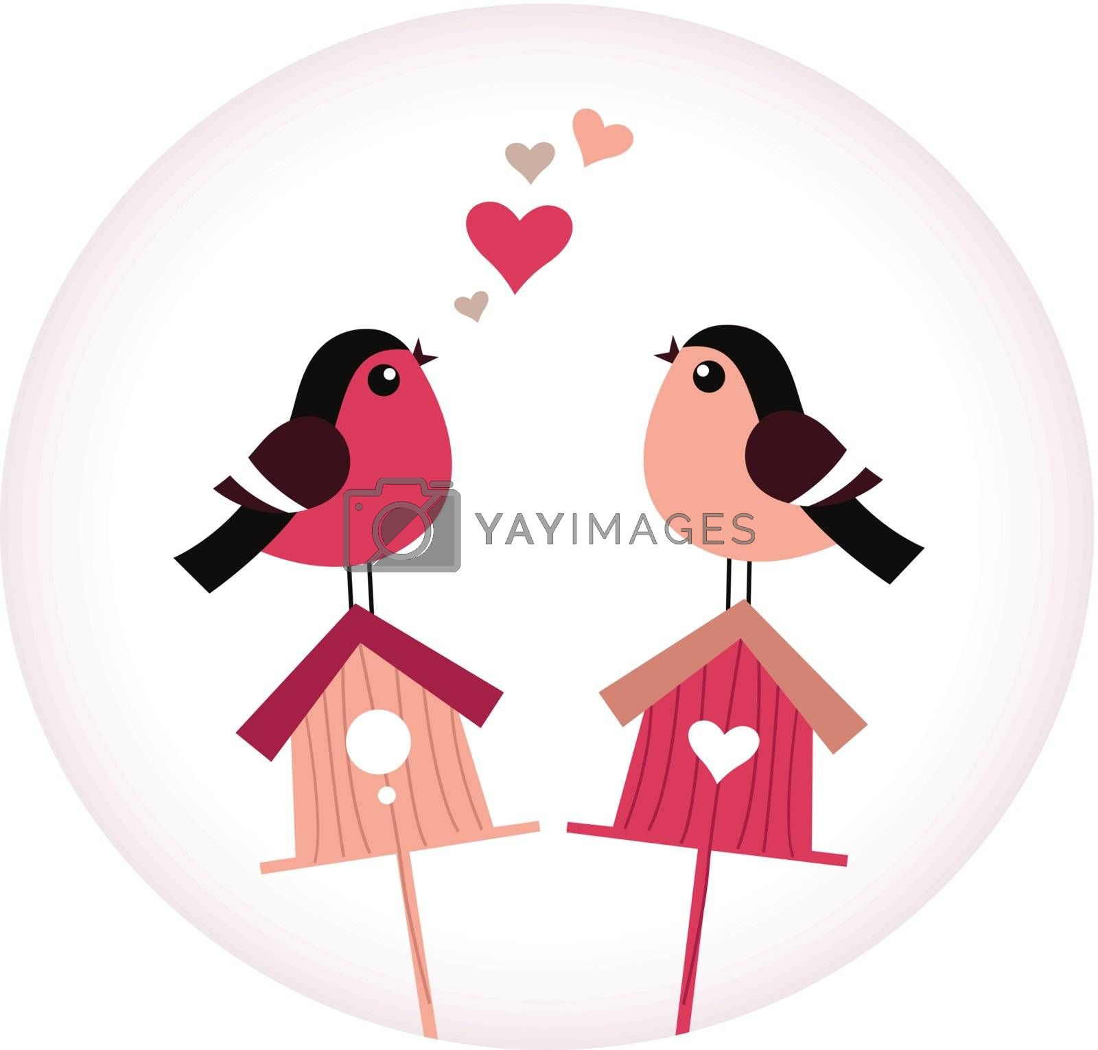 Colorful Birds and Birdhouses. Vector Illustration