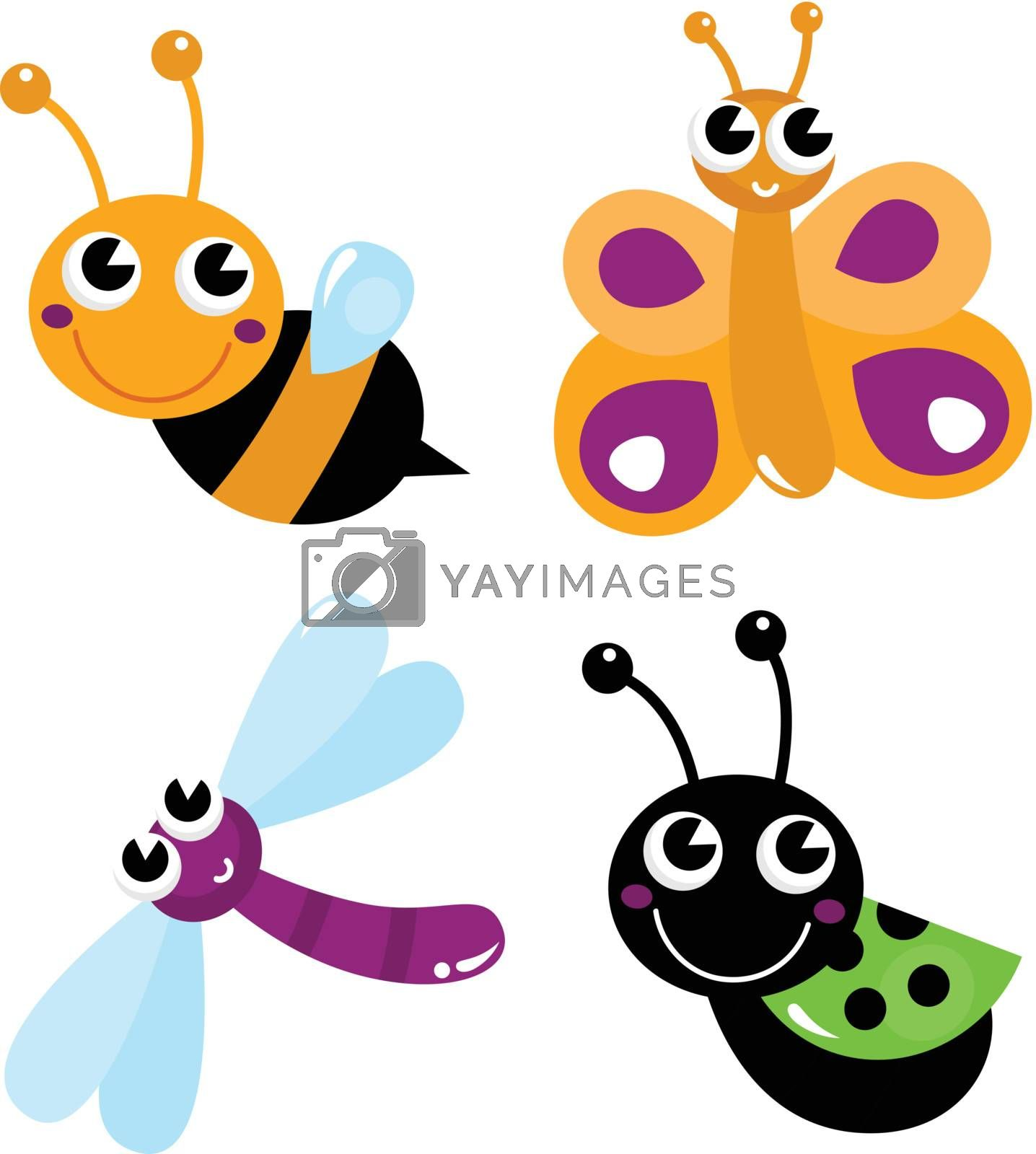Colorful bugs mix. Vector cartoon Illustration