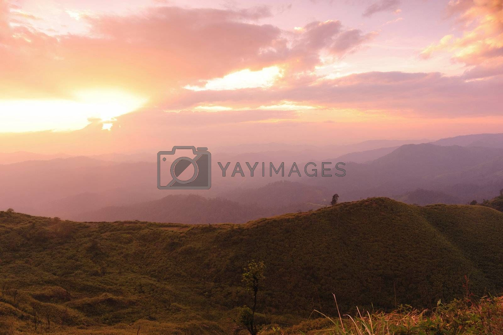Nice sunset scene in mountains  by ngungfoto
