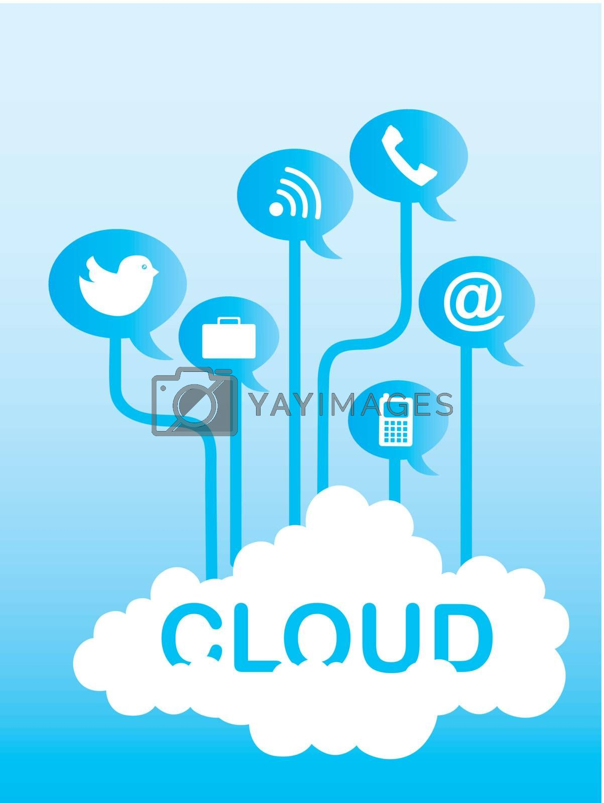 cloud communication with icons over sky background. vector