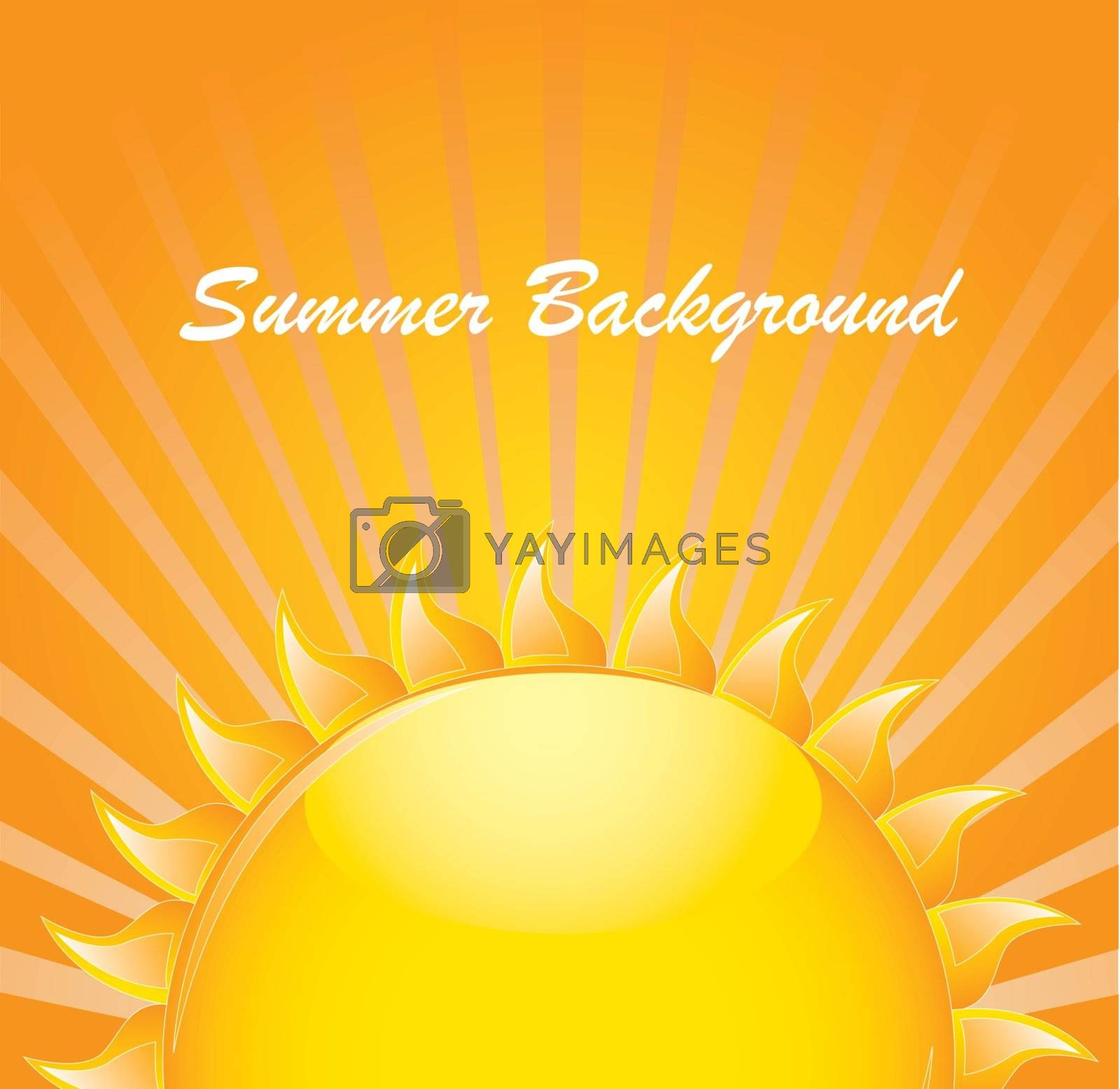 Summer background with big sun over yellow background