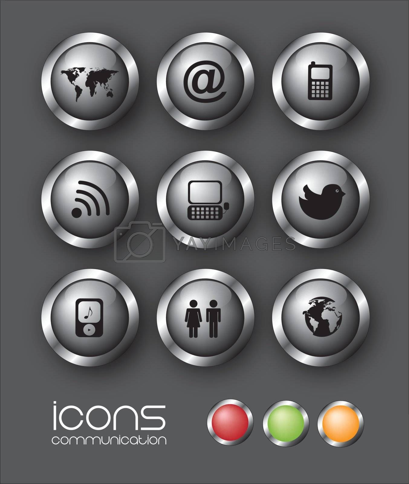Communication icons over black background vector illustration