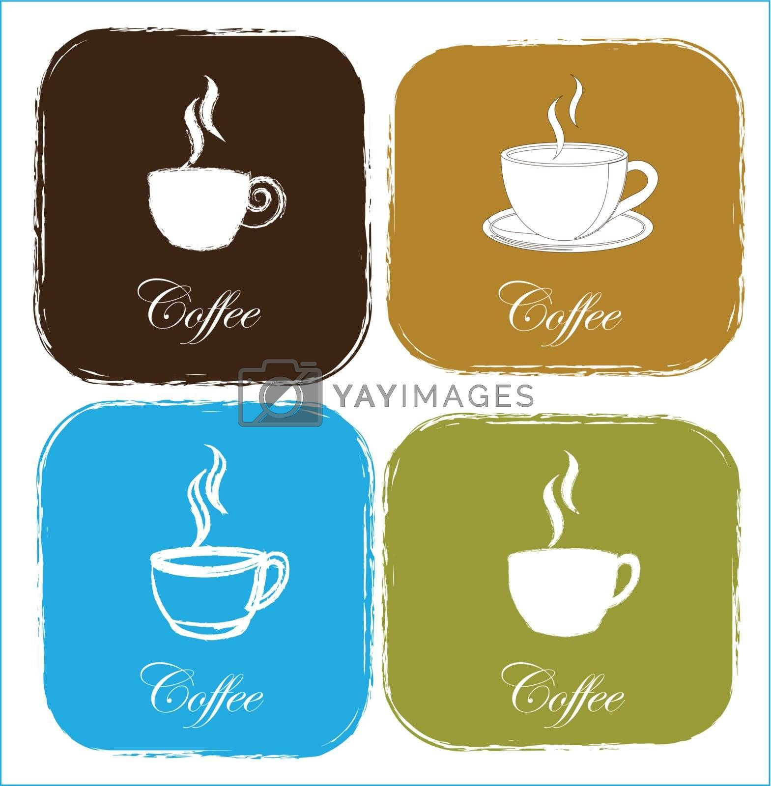flavored coffee cups with vintage squares over white background