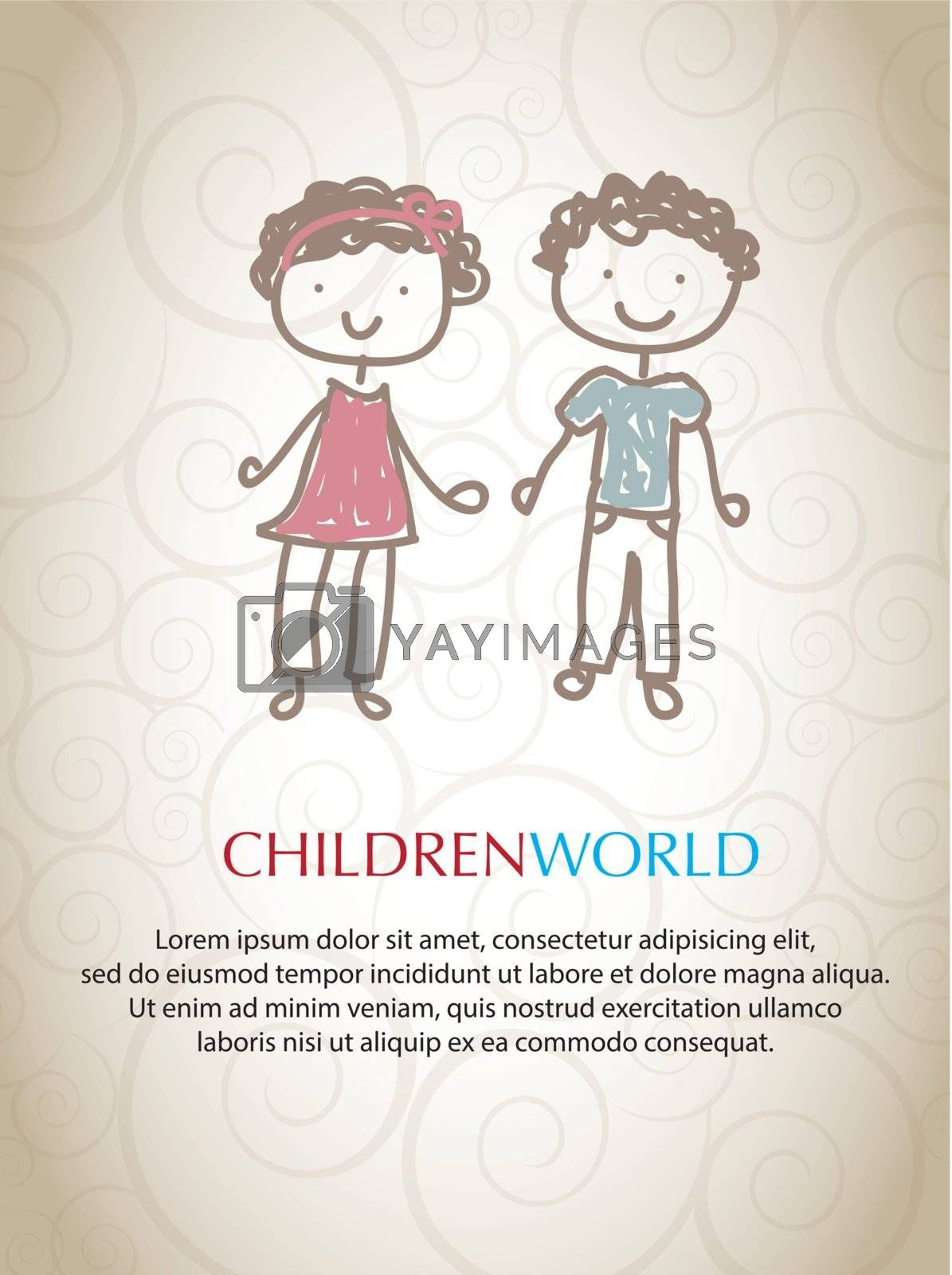 pair of children in friendship and brotherhood representing the world