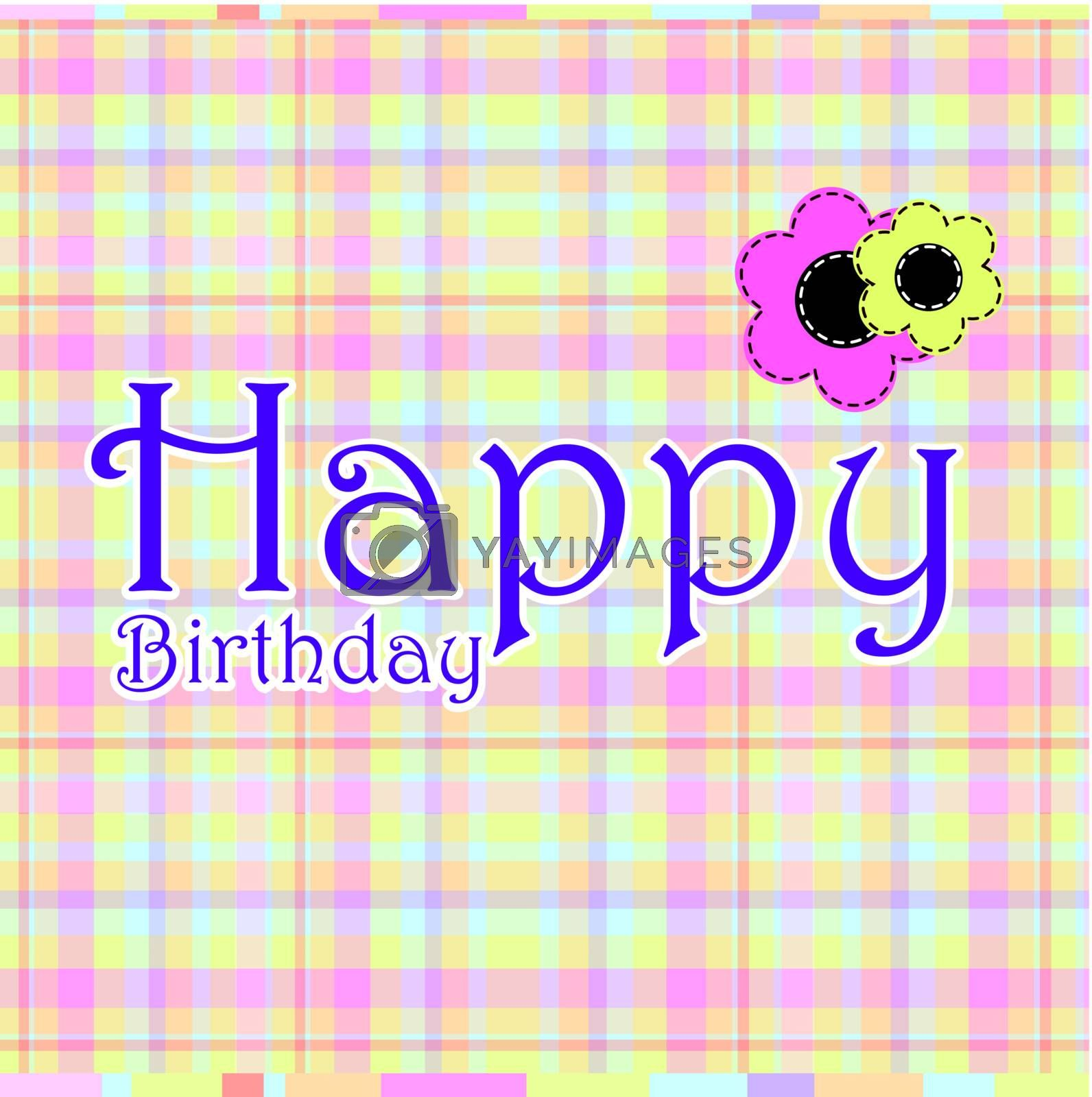 birthday card with flowers over colors background