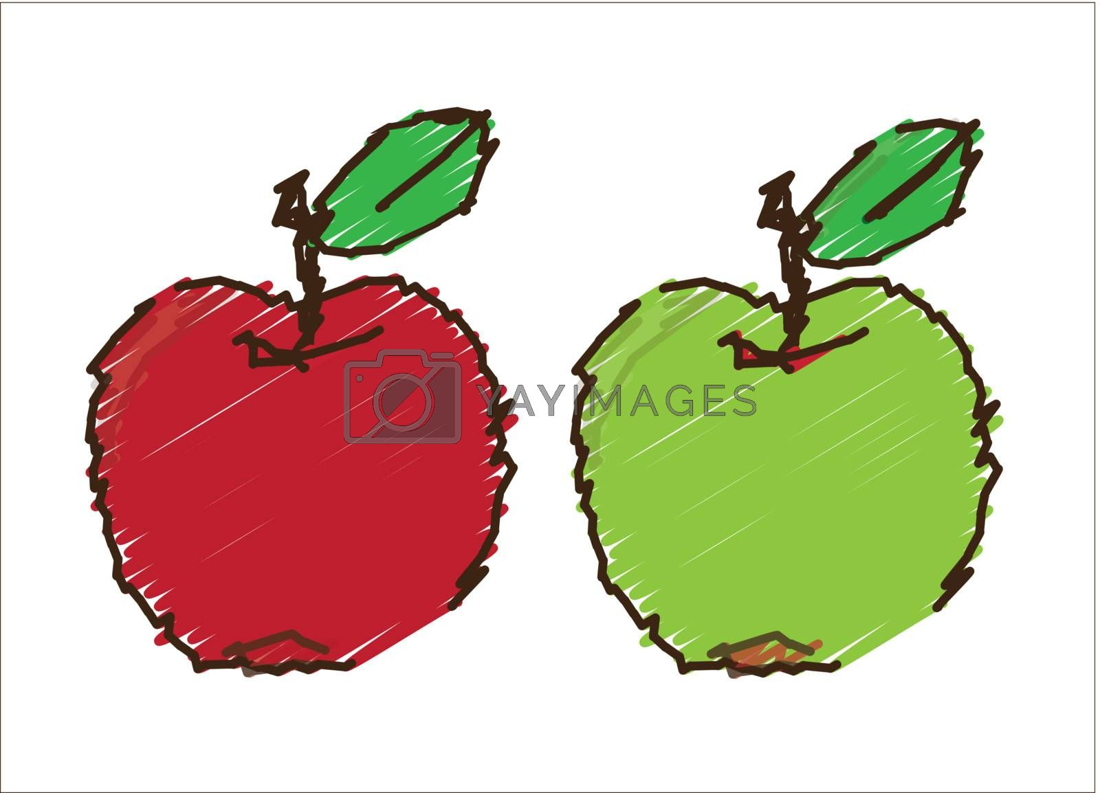 apples with a colored vector illustration