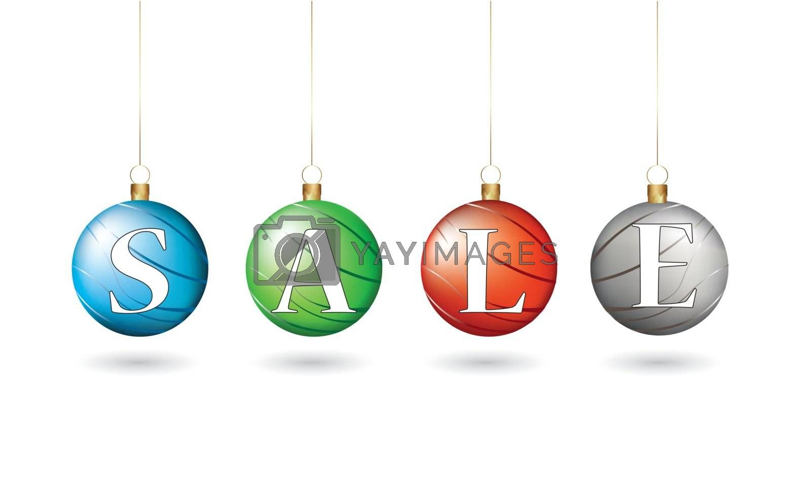 Christmas balls forming the word sale vector illustration