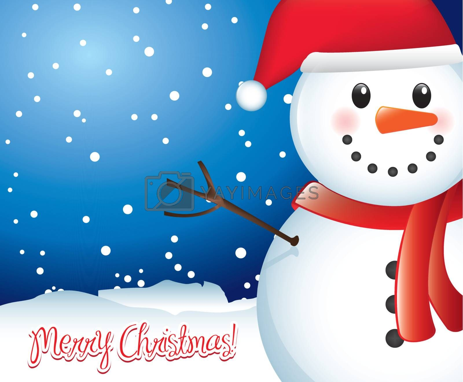 Merry christmas card with snowman and snow Vector illustration