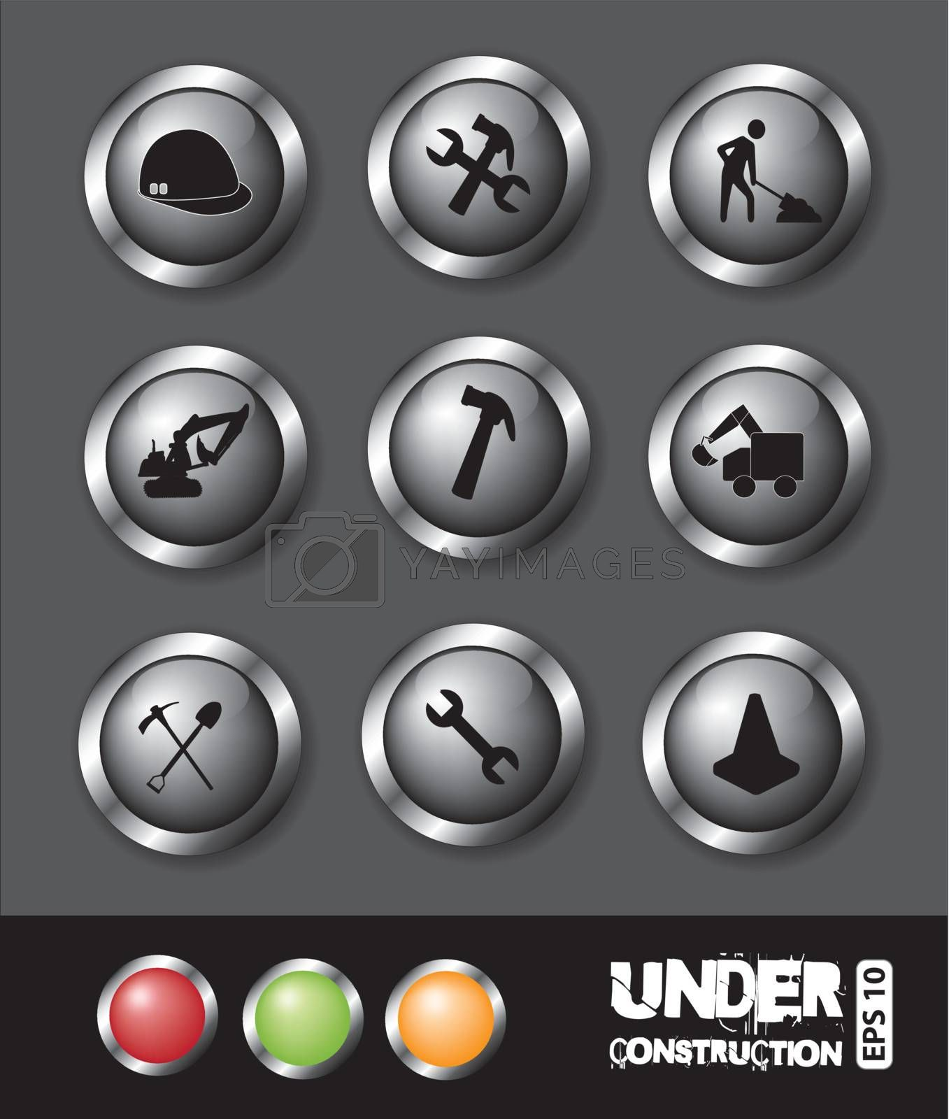 under construction icons of buttons over gray background