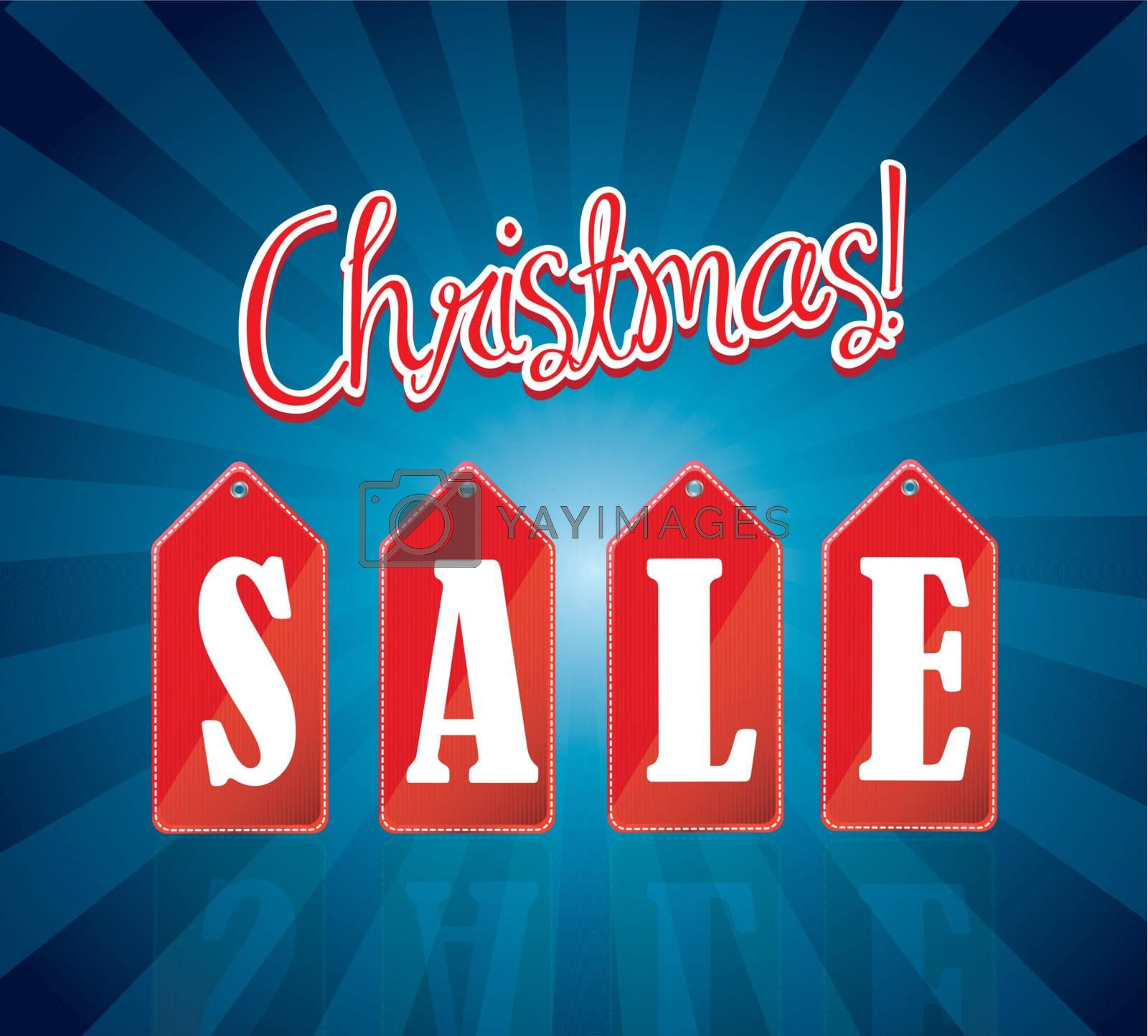 great Christmas sale over blue background