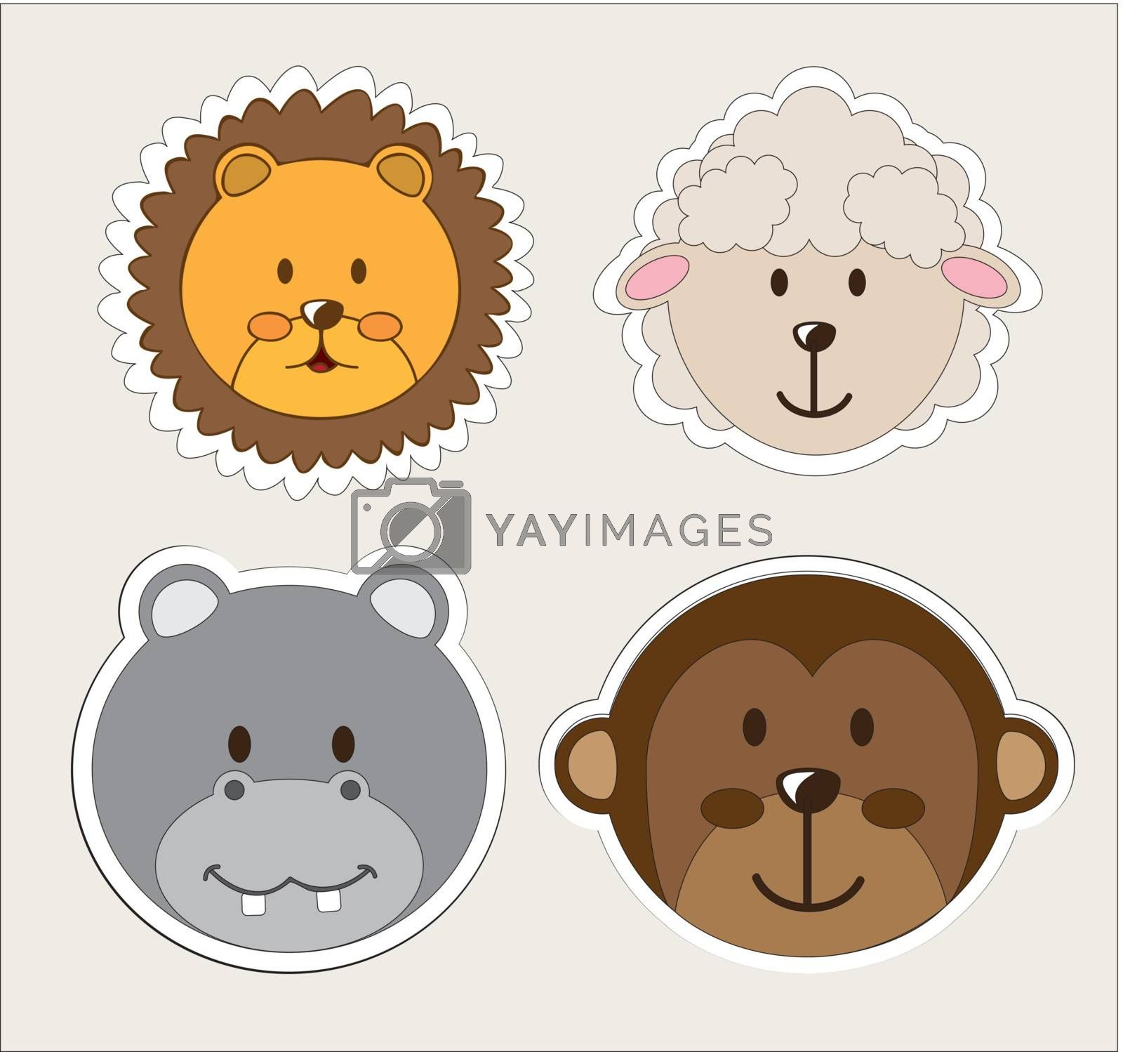 beautiful and cute animals vector illustration