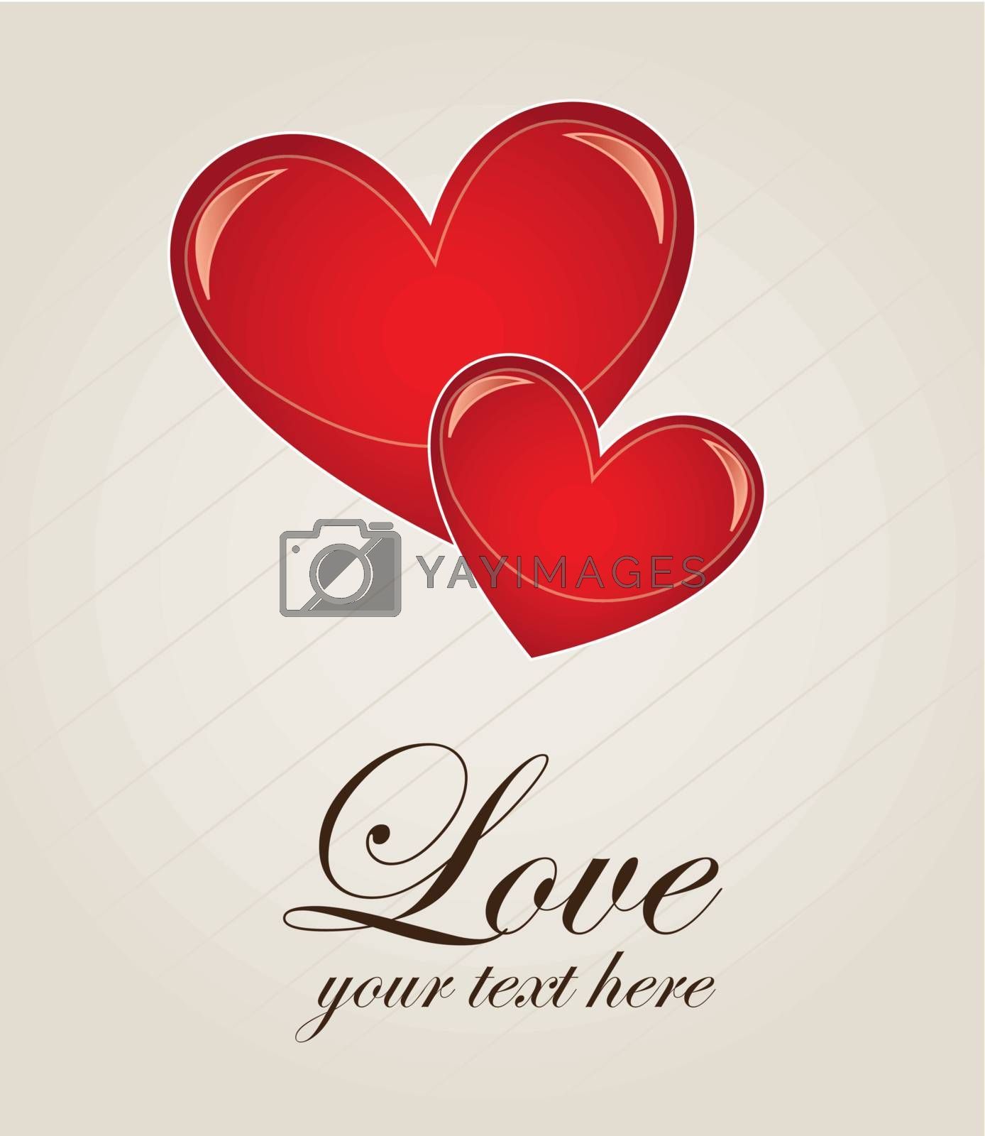 Two hearts of love over white background