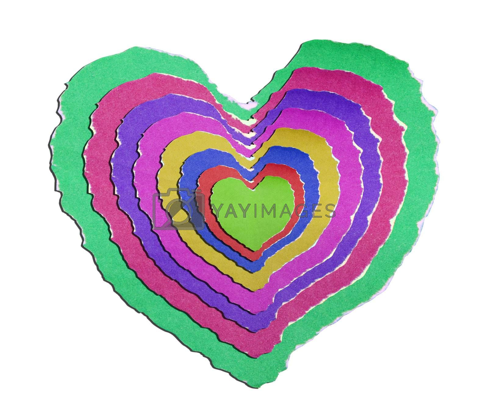 Heart shaped on   paper with valentine's day text background