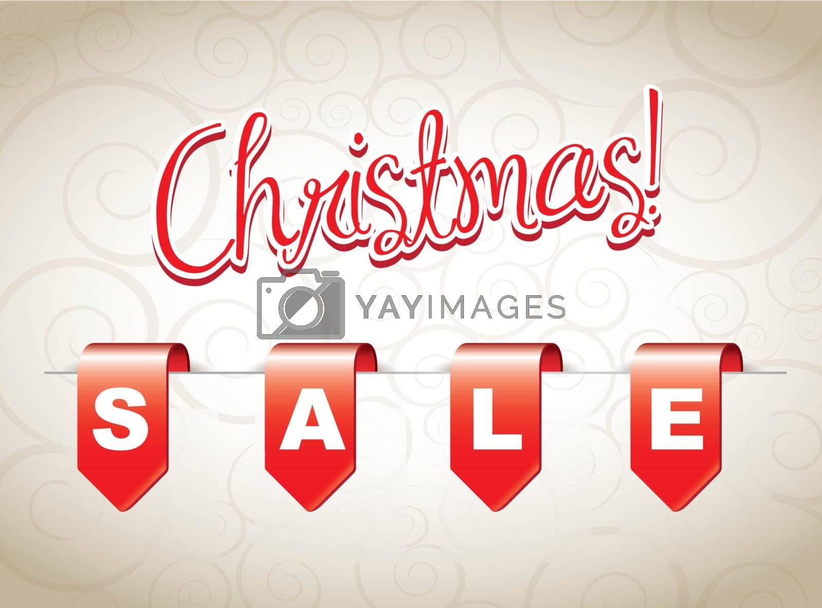 Christmas sale with offer tags over white background