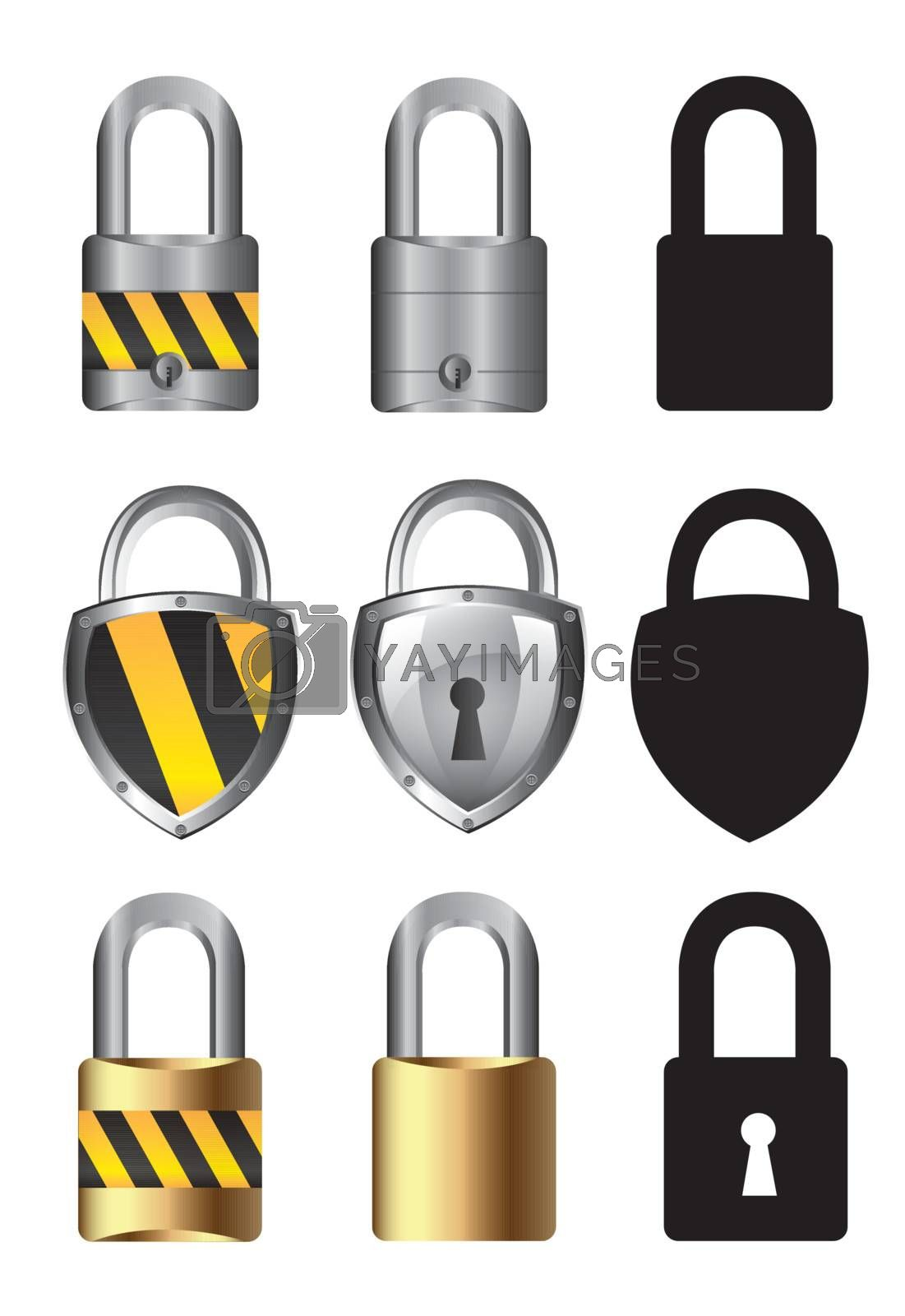 collections of locks over white background vector illustration
