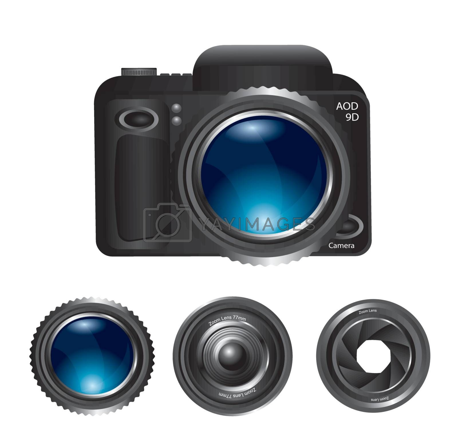 camera lens at different positions over white background