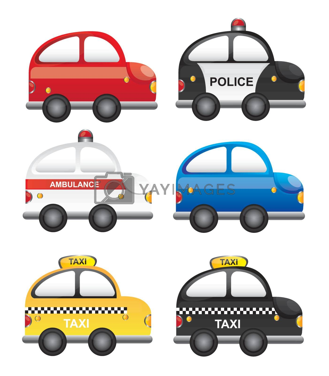 A set of  occupations cars vector illustration