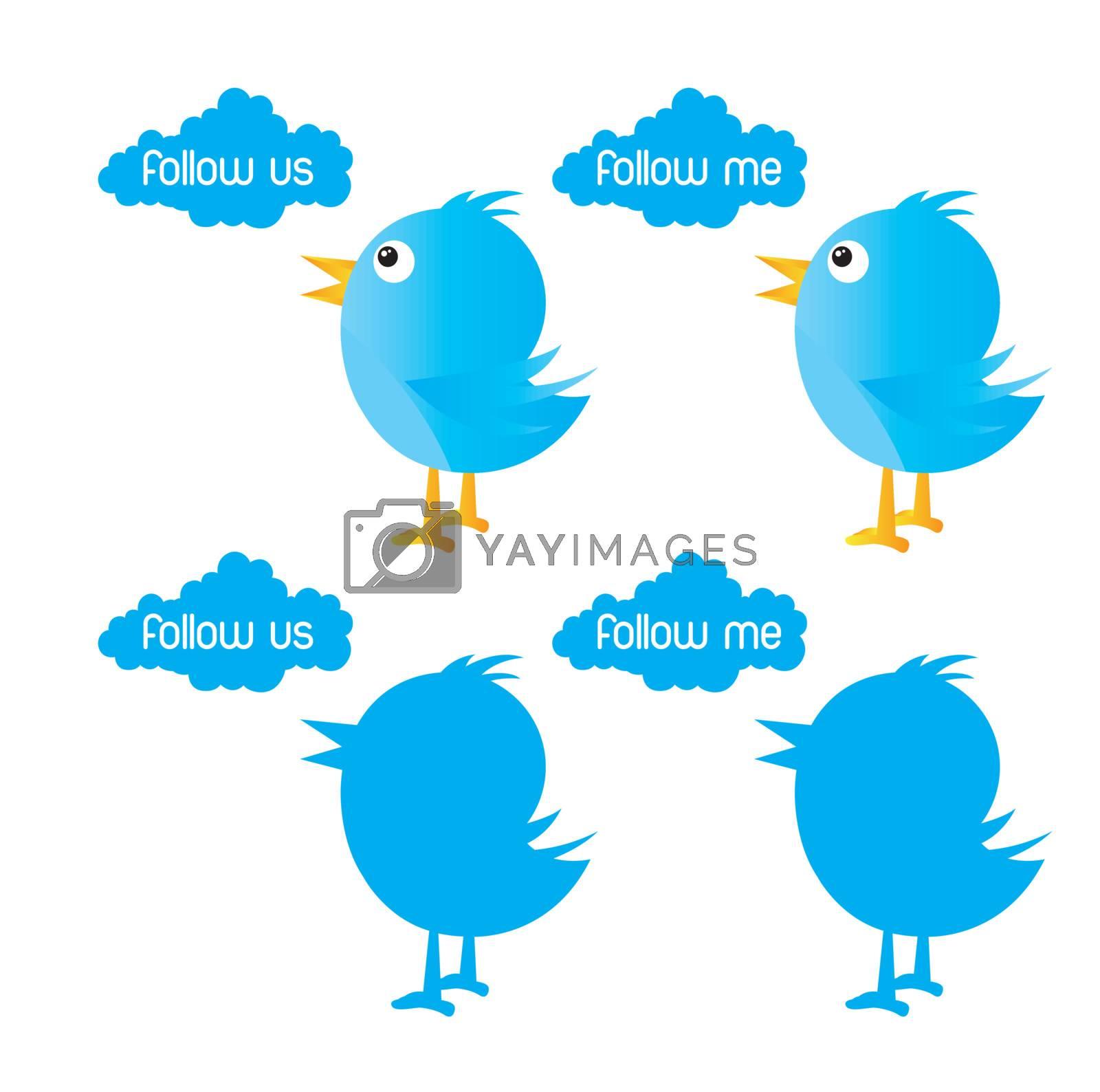 bird symbol inviting follow over white background