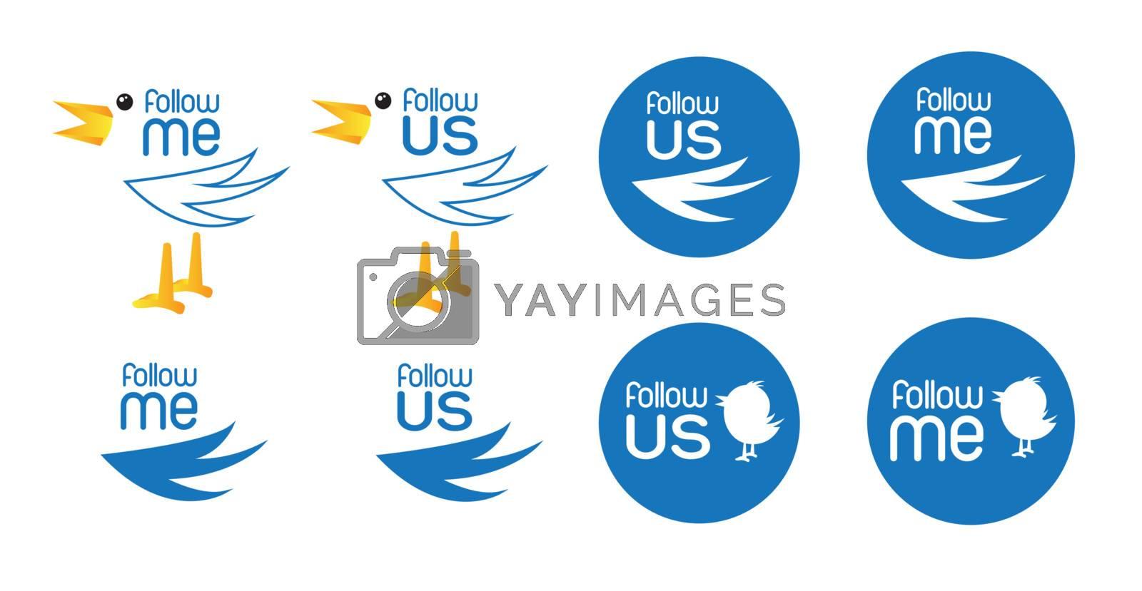 different bird symbol of inviting follow us