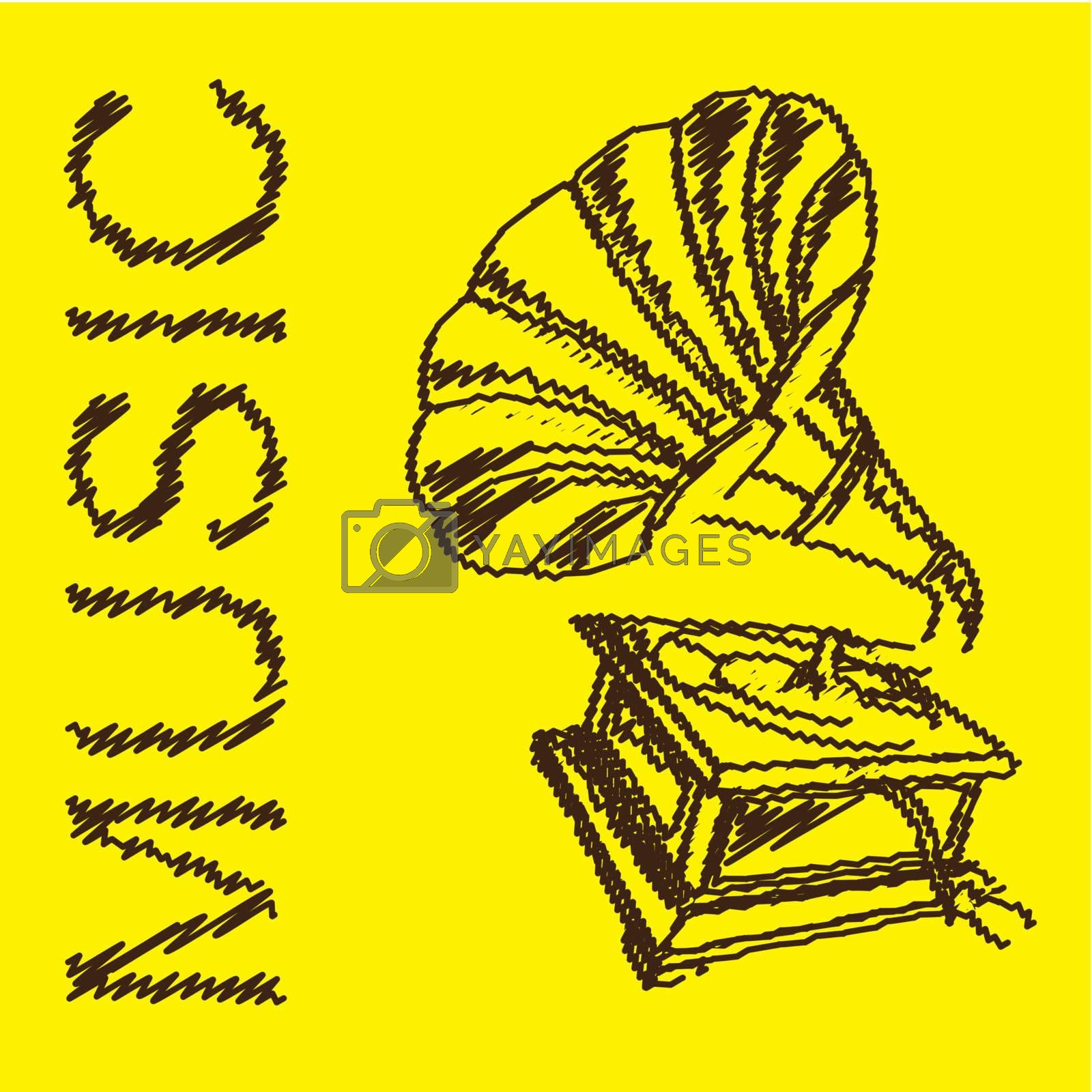 Old gramophone musical over yellow background. Vector illustration