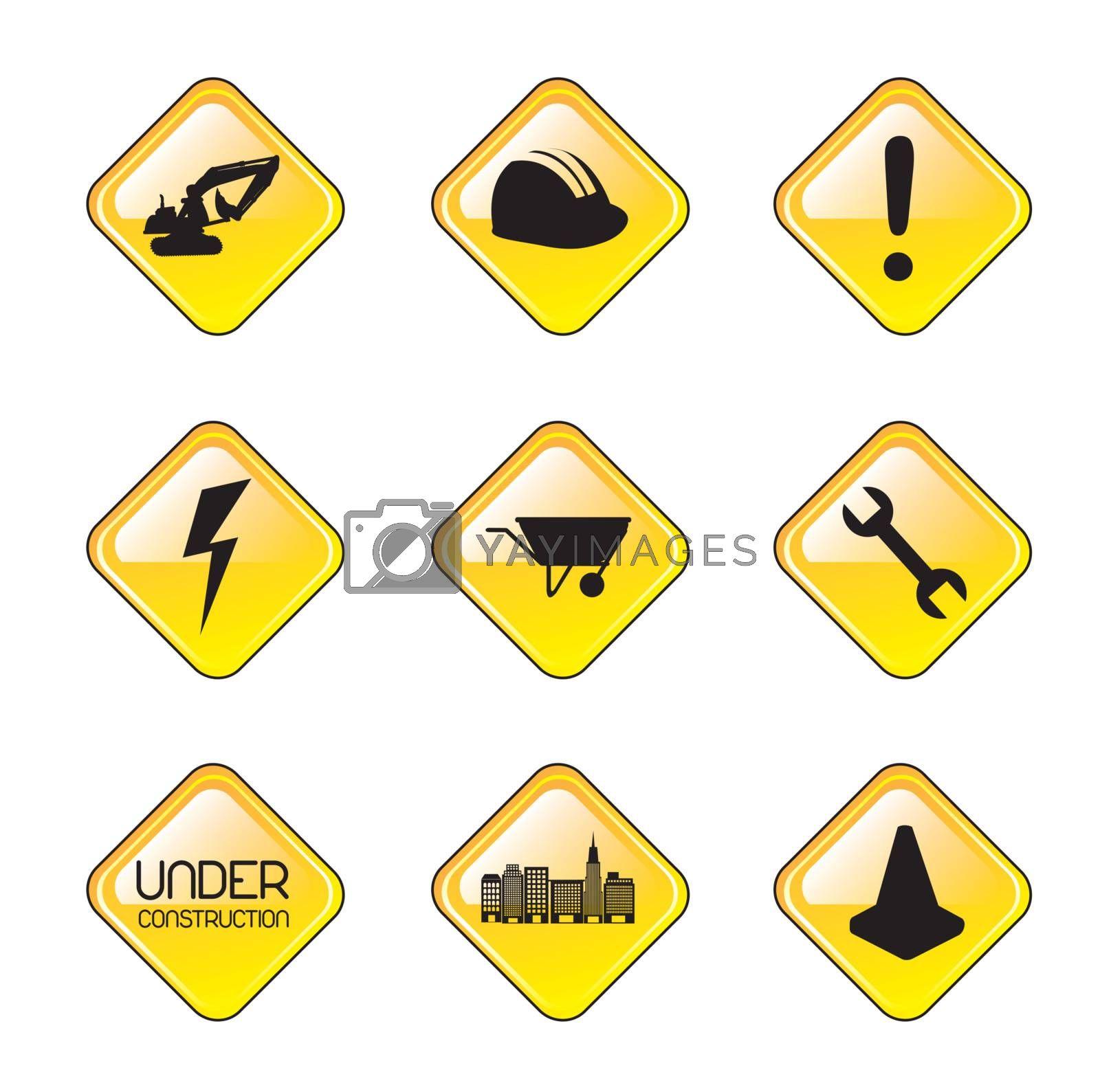 Elements of construction over white background