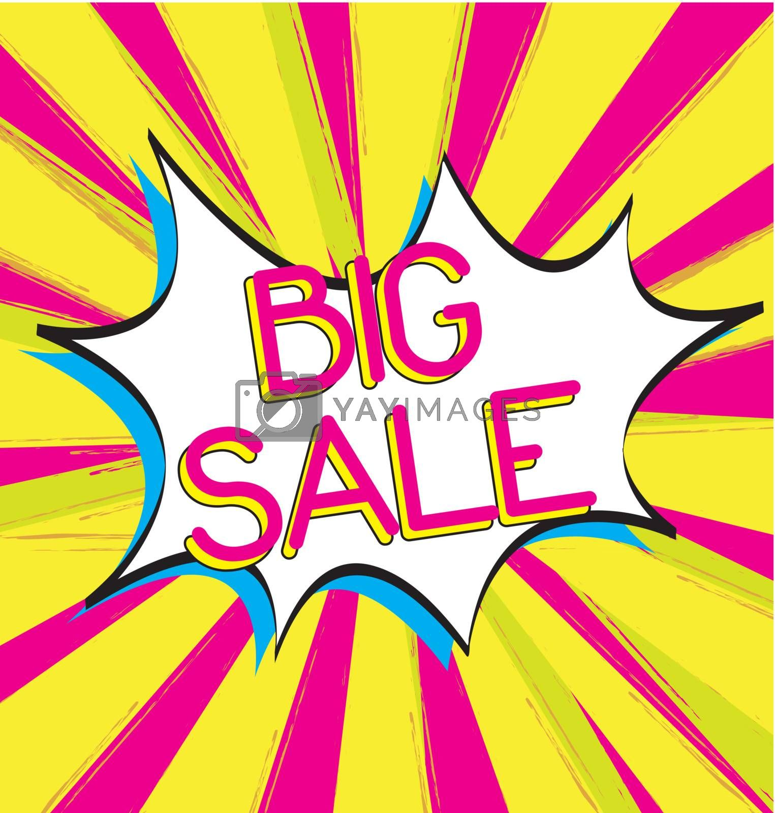 Bubble comic of big sale  over yellow and pink background