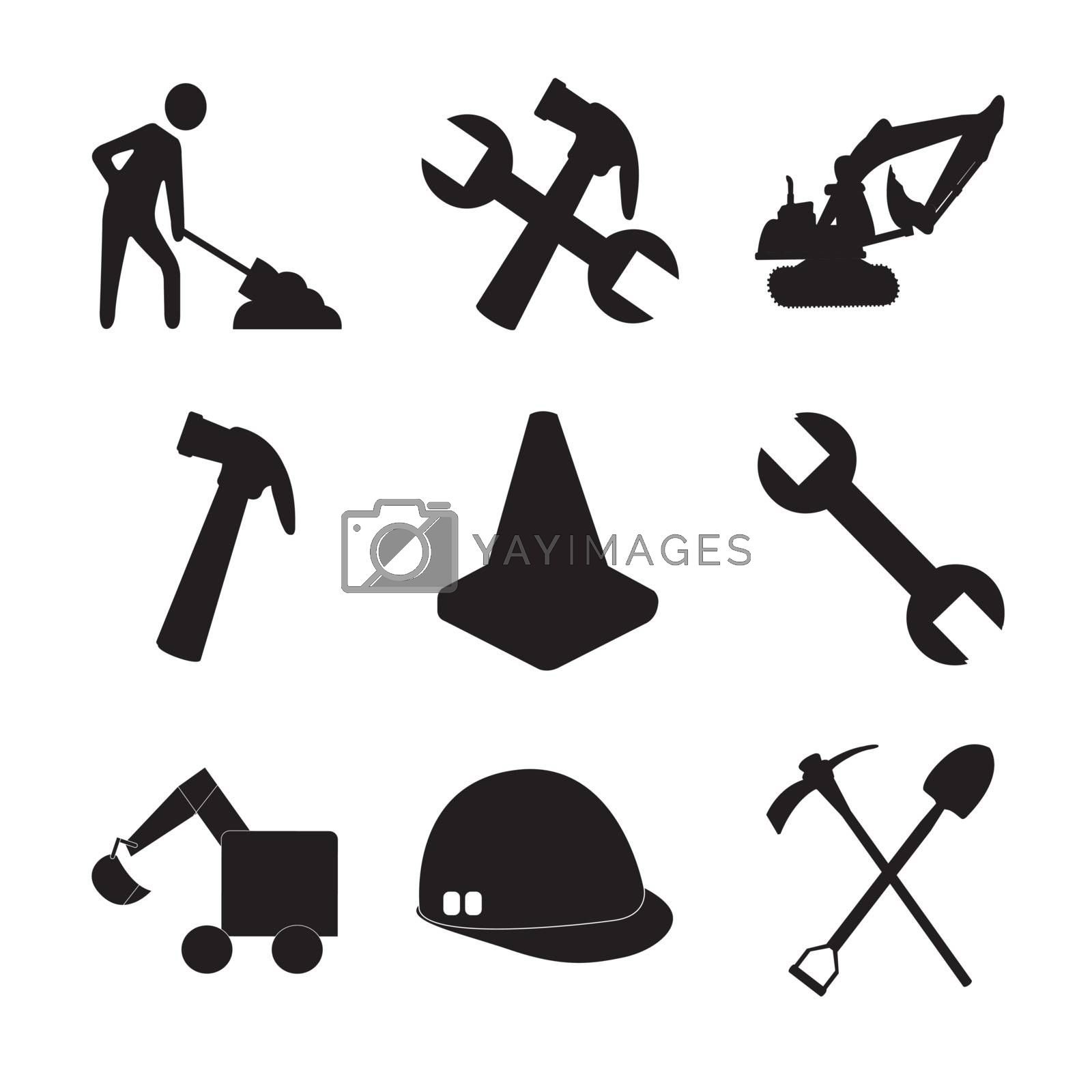 Construction tools silhouettes and a man working