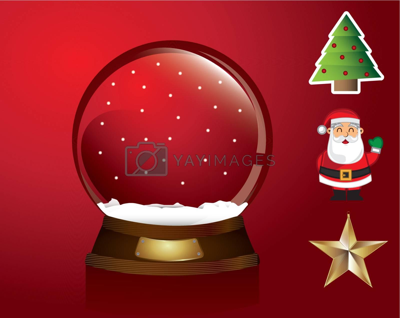 Christmas symbols around like a snowball tree, star, santa over red background