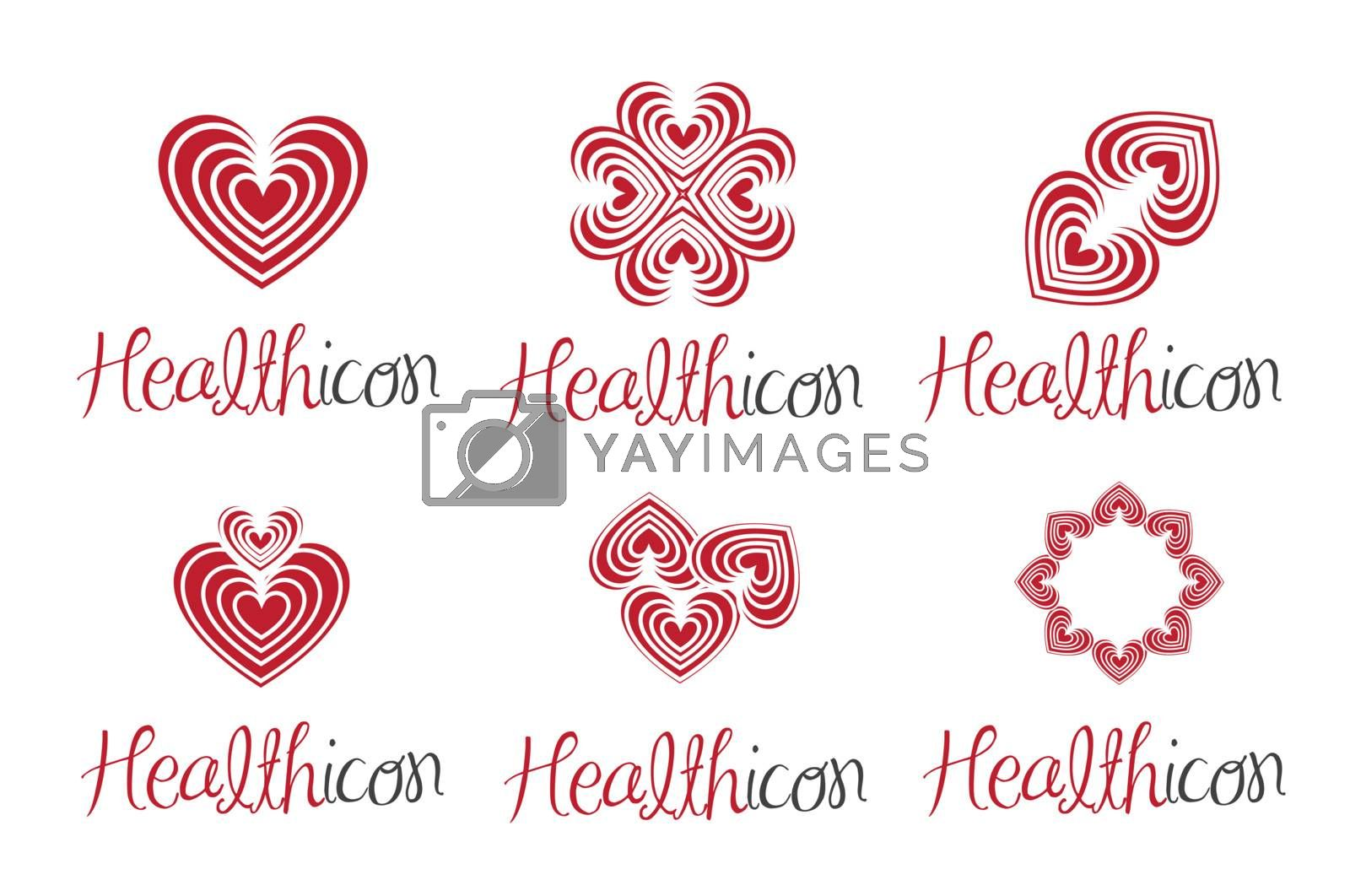 abstract and red health icon over white background