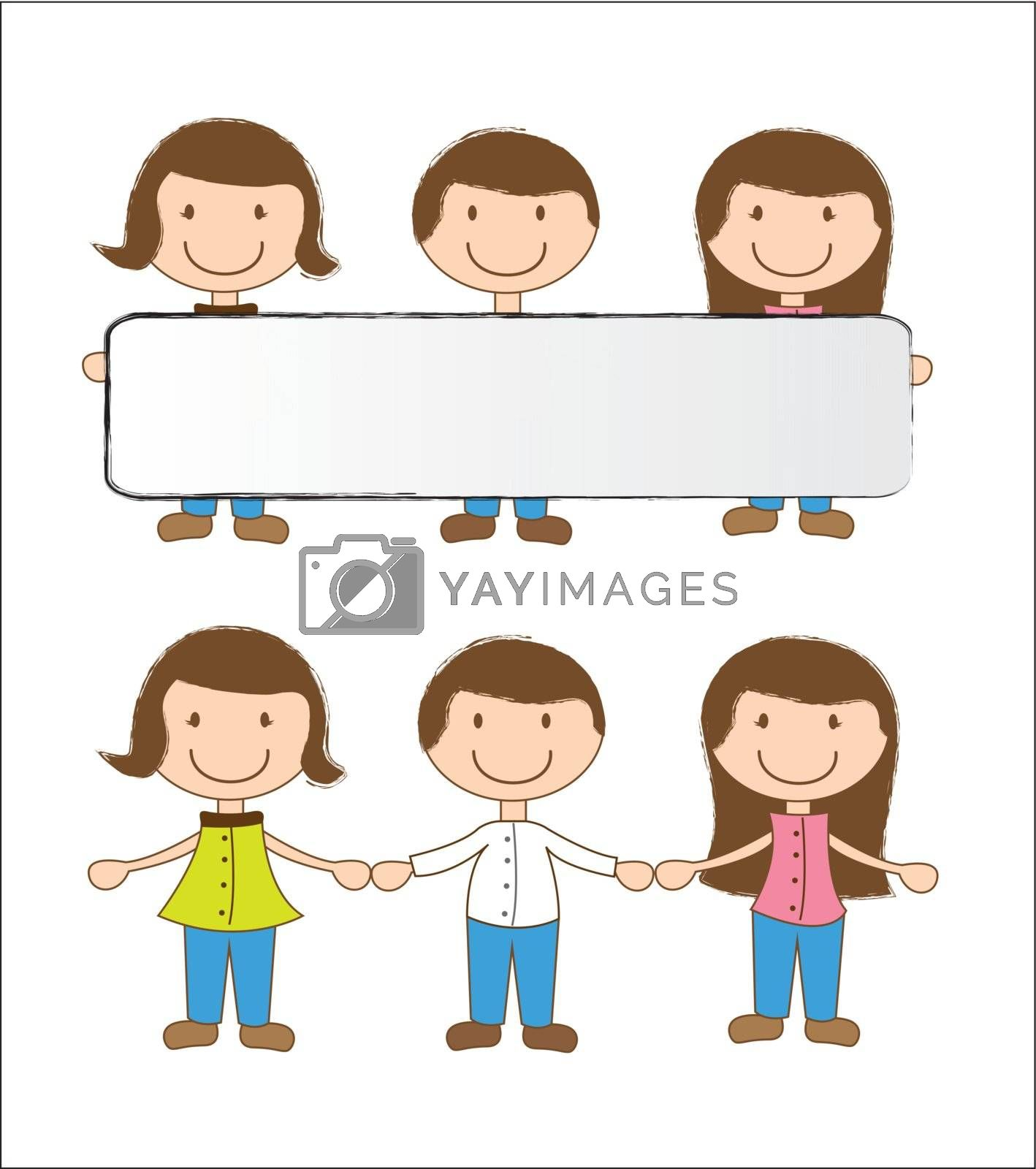 happy children with a blank box vector illustration