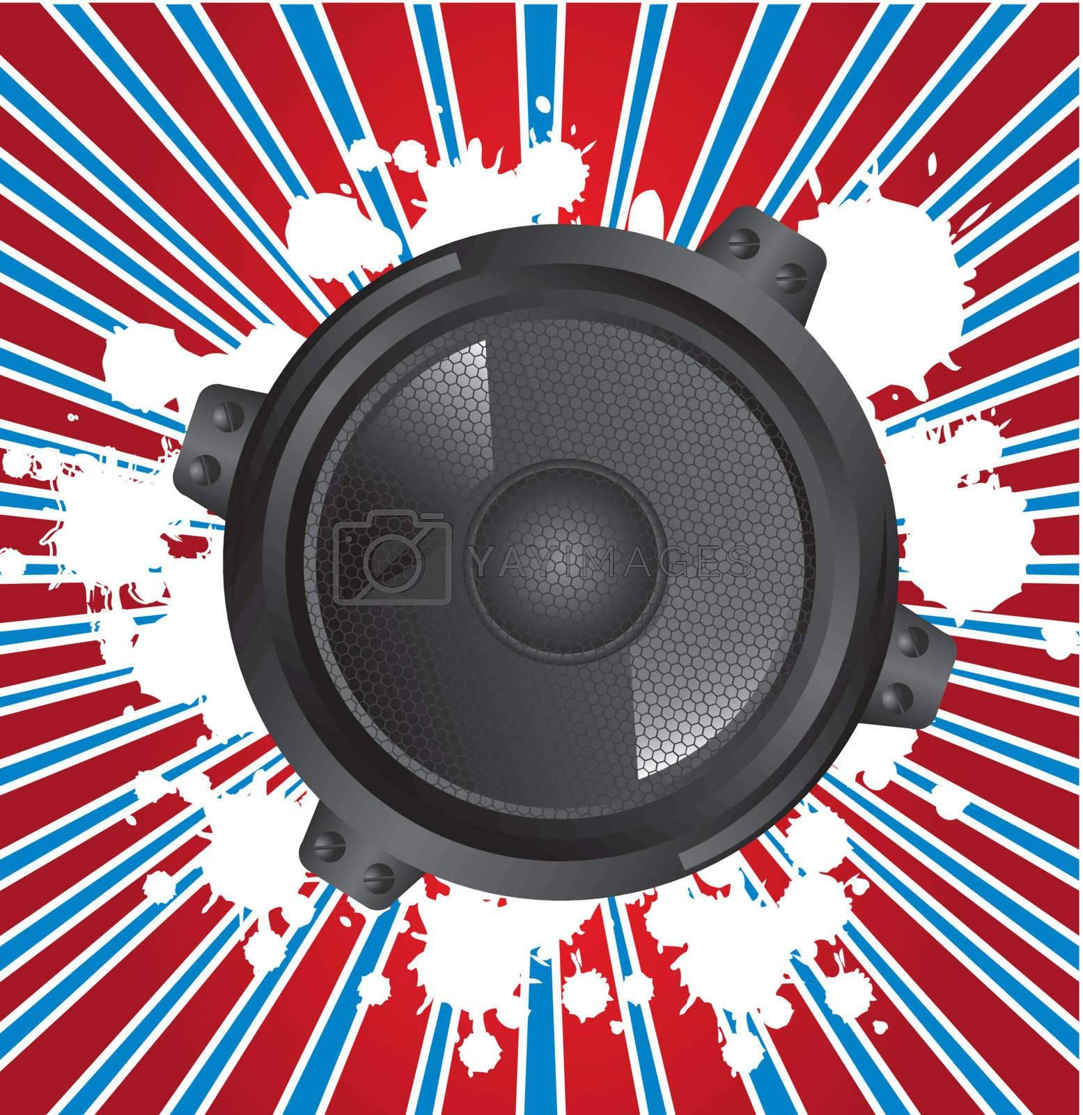speaker gray  over blue lines and red background