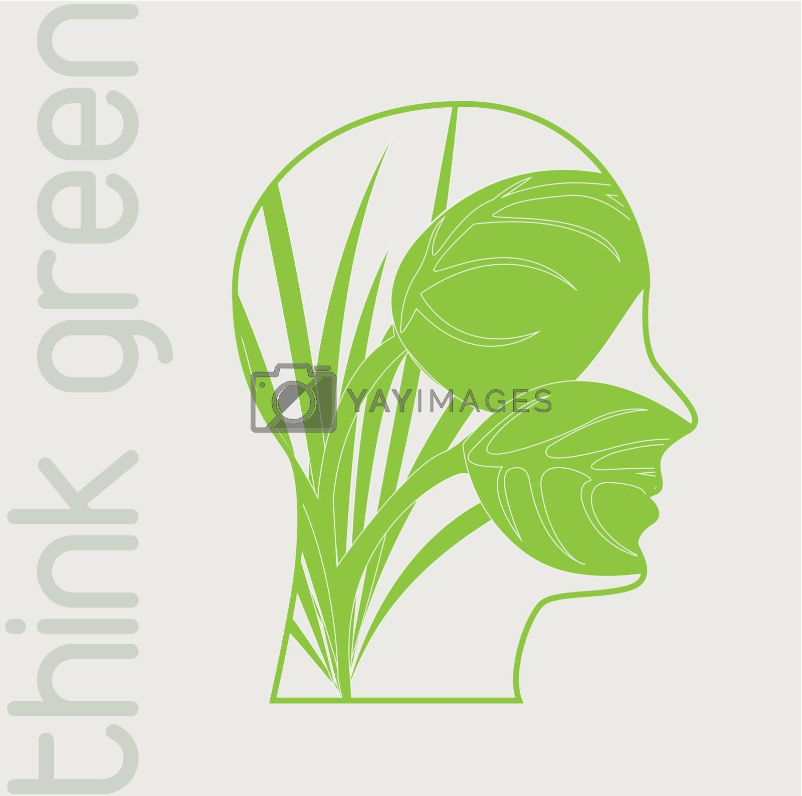 Face green over white background vector illustration