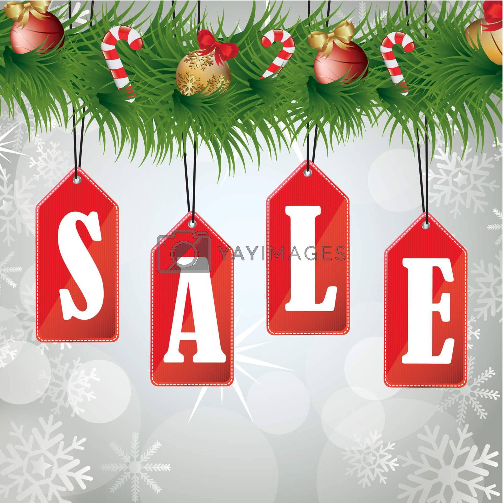 Christmas sales background with a wreath hanging labels