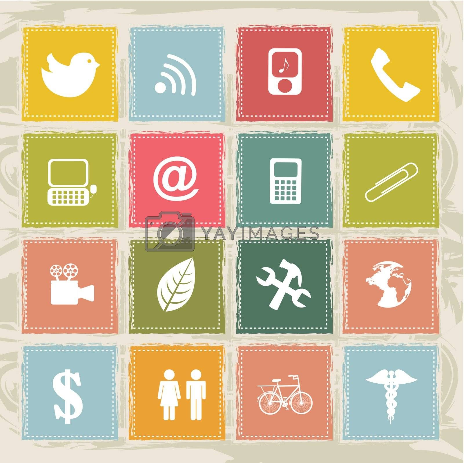 different technology and communication icons over colors background