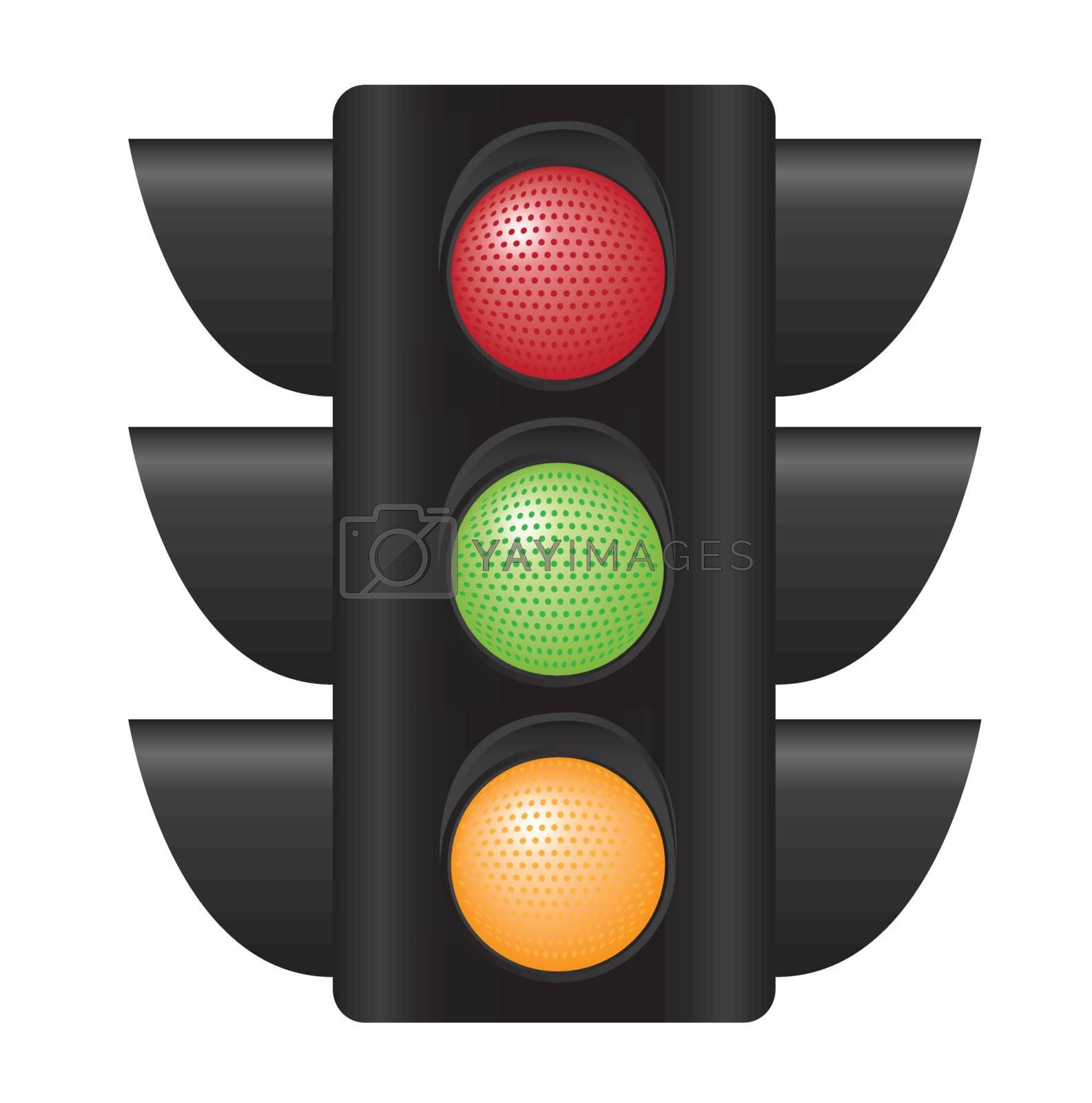 traffic light with all colors over white background